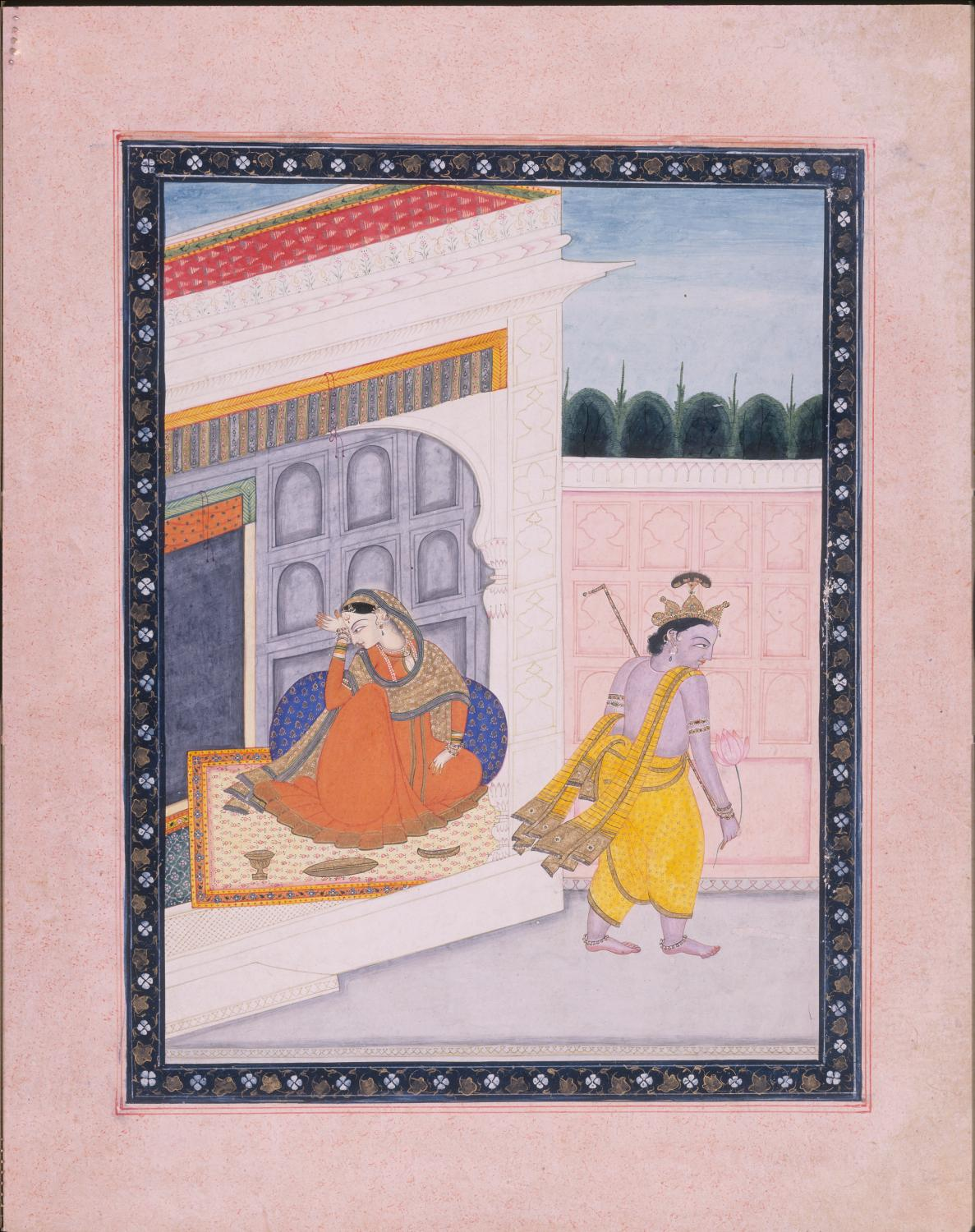 Krishna Leaves Radha. India, Guler-Kangra (18th century). Opaque color on paper. 8 1/2 x 6 1/2 inches. Gift of George P. Bickford 1970-10-5