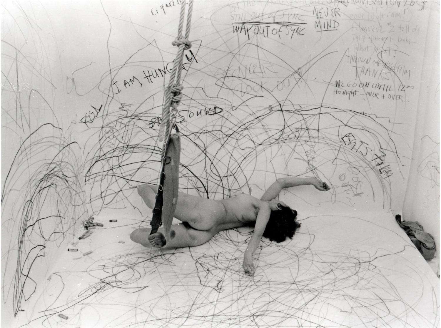 Carolee Schneemann, Up To And Including Her Limits, 1973–76. Crayon on paper, rope, harness. 2-channel analog video/audio transferred to digital video, 29 min. © Carolee Schneeman