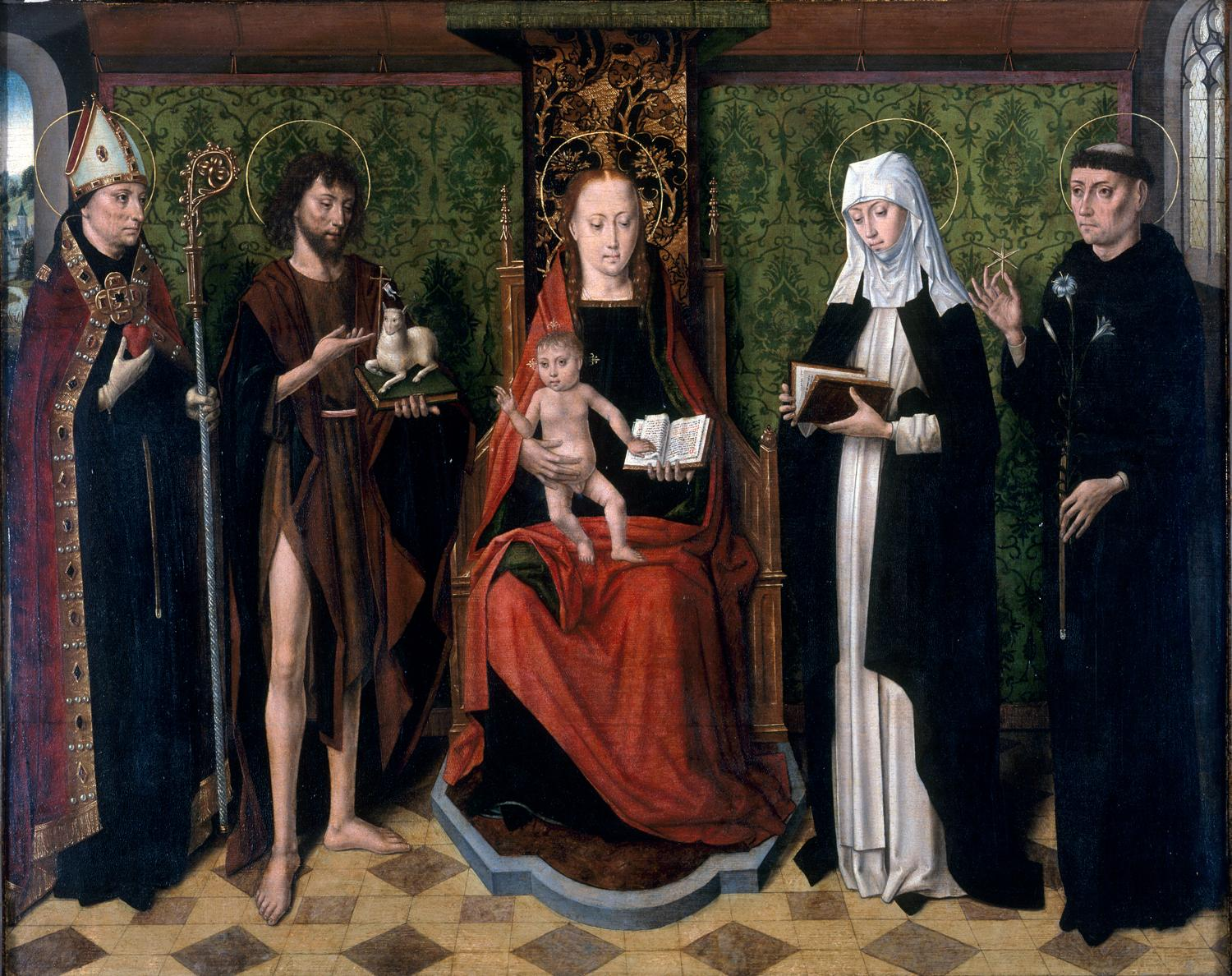 Master of the Legend of Saint Ursula (Flemish, active 1470–1490), The Virgin and Child with Saints Augustine, John the Baptist, Monica, and Nicholas of Tolentino, ca. 1480.