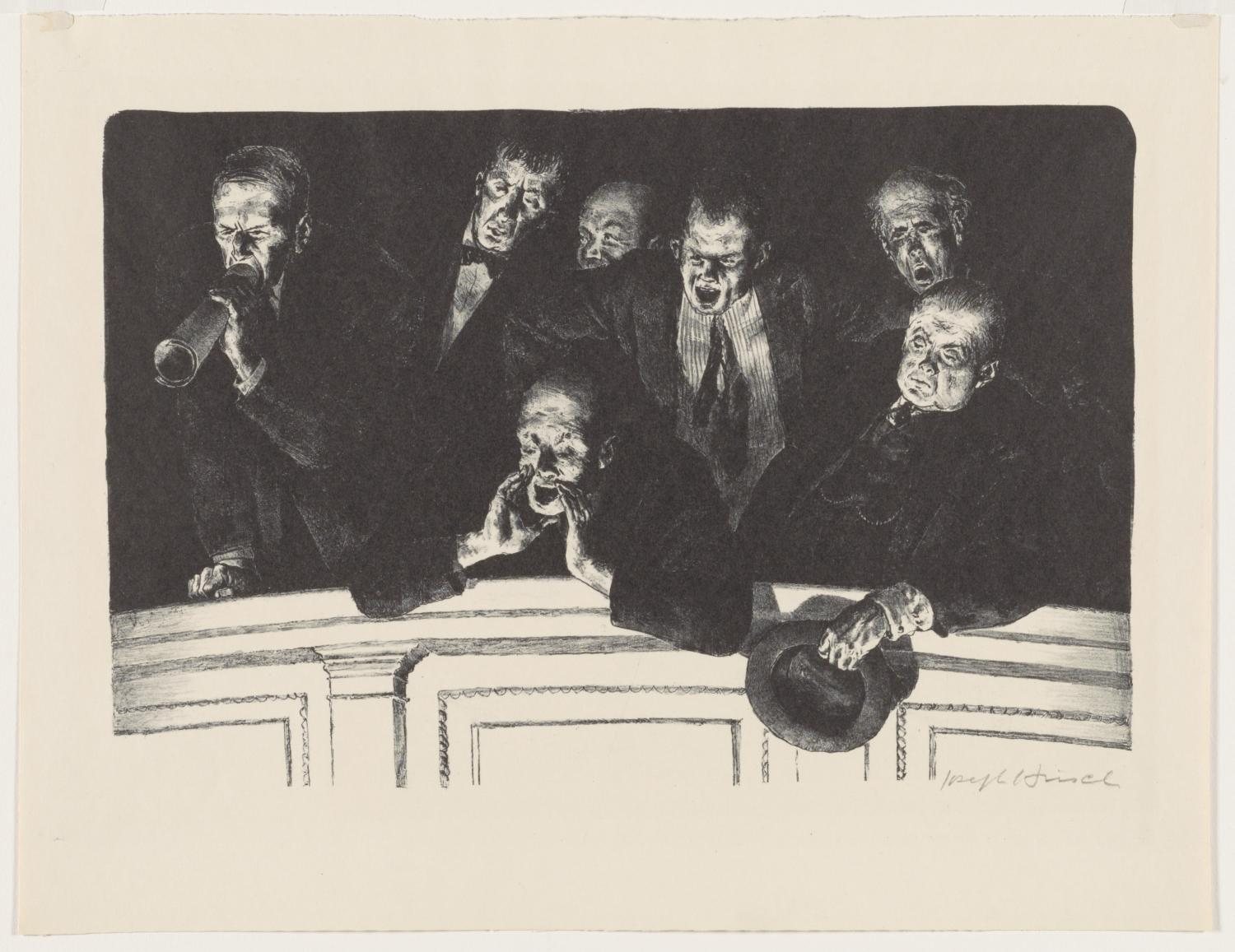 Black and white print with seven male figure in dark suits hanging over a balcony jeering and shouting. One whistles, one has his hands cupped to direct his shout, one waves his hat. Their faces have derisive expressions.