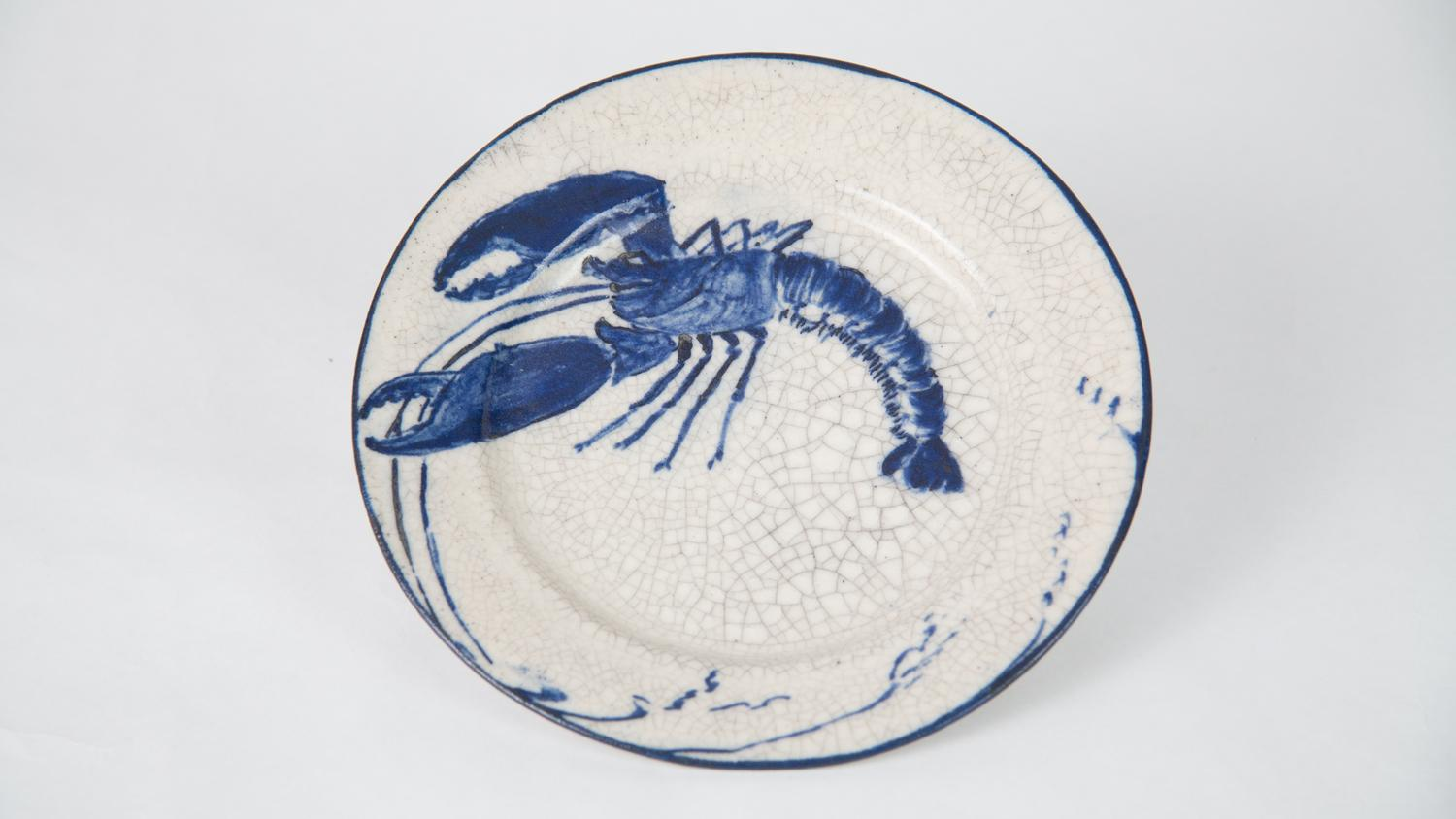 Bread and Butter Plate with Lobster Design, Dedham Pottery, ca. 1900, stoneware, 1980-4-115, Gift of Department of Ceramic Engineering, UIUC, C.W. Parmelee Collection