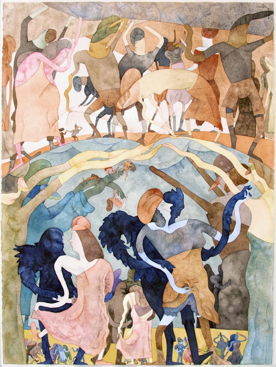 Gladys Nilsson, The Last Ball, 1976. Watercolor on paper. Museum purchase with funds provided by Dean Allen S. Weller and Rachel Weller. 1980-6-1