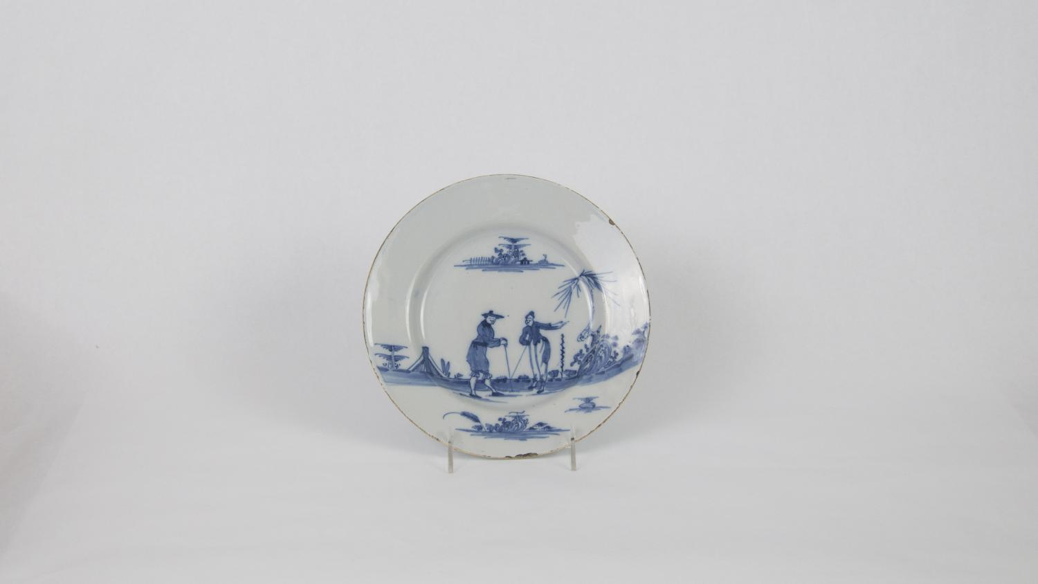Delft plate, English, 1750–1775. Lead-glazed earthenware. Museum purchase through the Harlan E. Moore Charitable Trust fund 1986-9-1