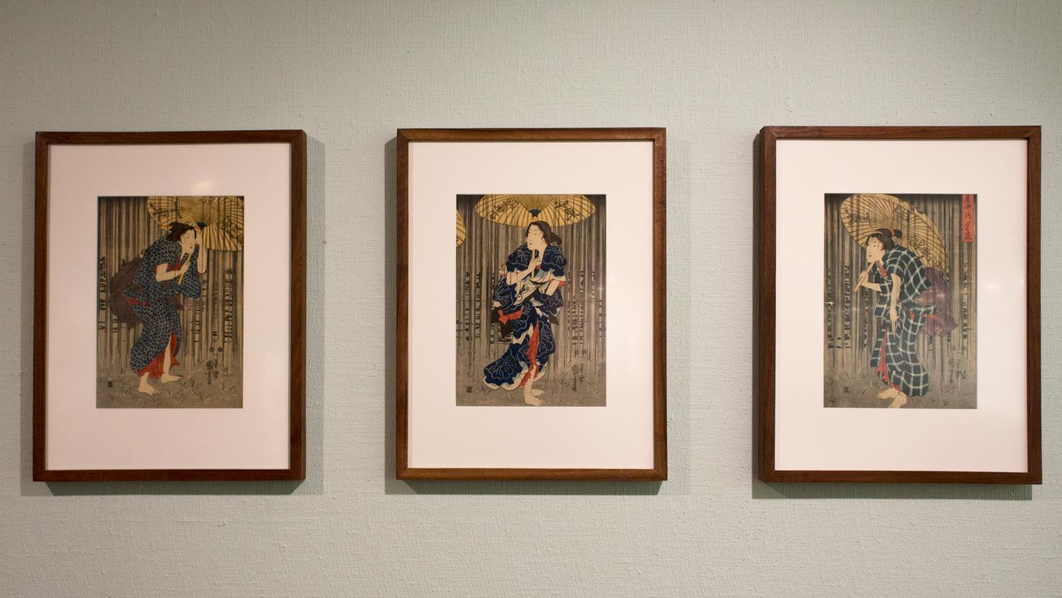 Utagawa Kuniyoshi, Sudden Shower in the Summer Heat, 1849-1851. Installation view at Krannert Art Museum, 2018.