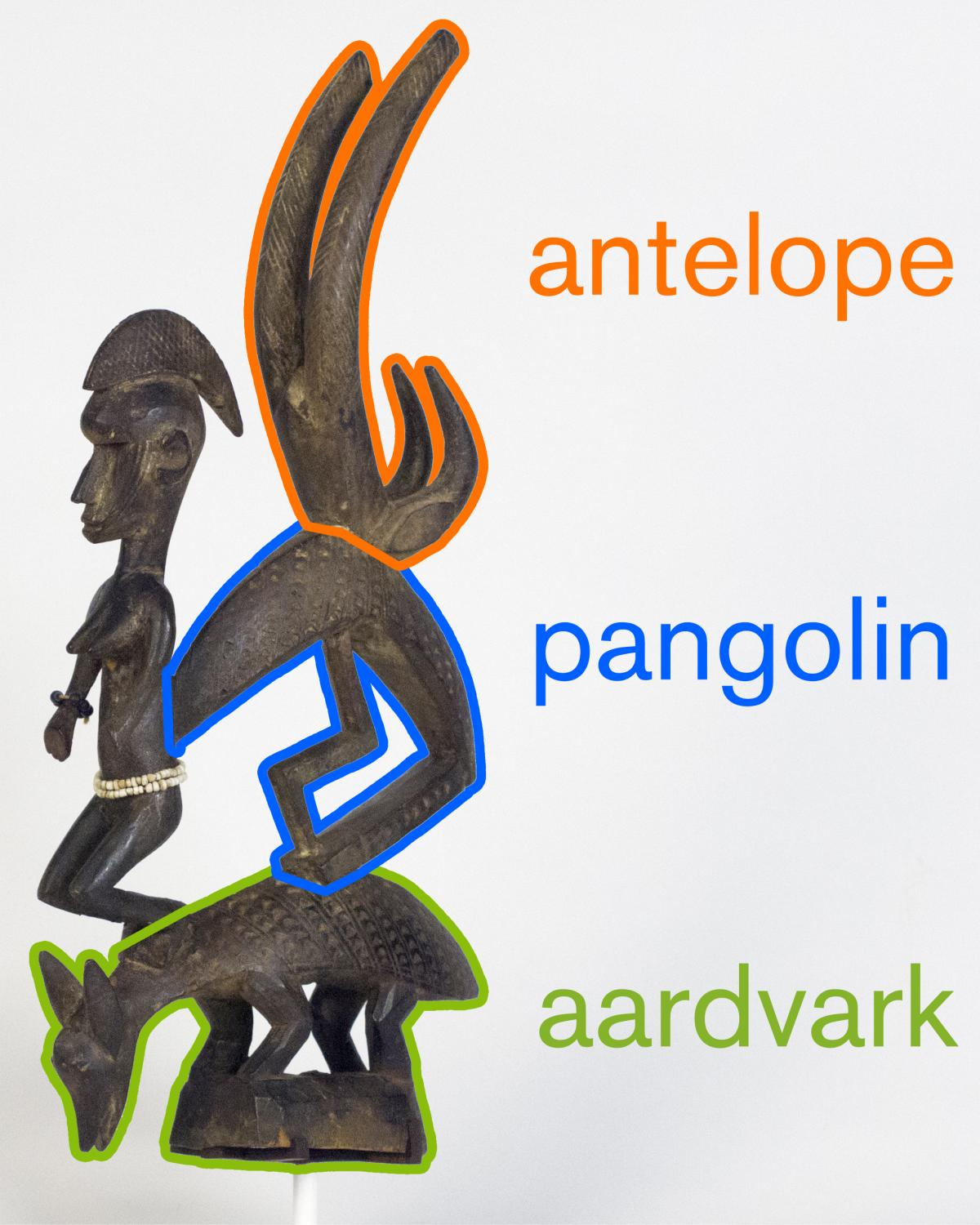 A diagram illustrating the horns of the antelope, body of a pangolin, and body of an aardvark.