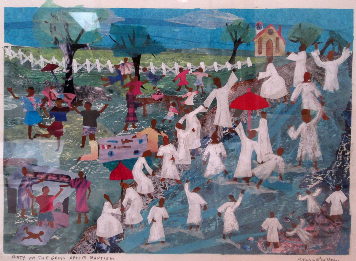 Brightly colored landscape with layers of paint and paper collage that depicts a river with many people being baptized with hands raised in celebration and white robes. On the lawn nearby are families picnicking joyfully. All figures are african american.