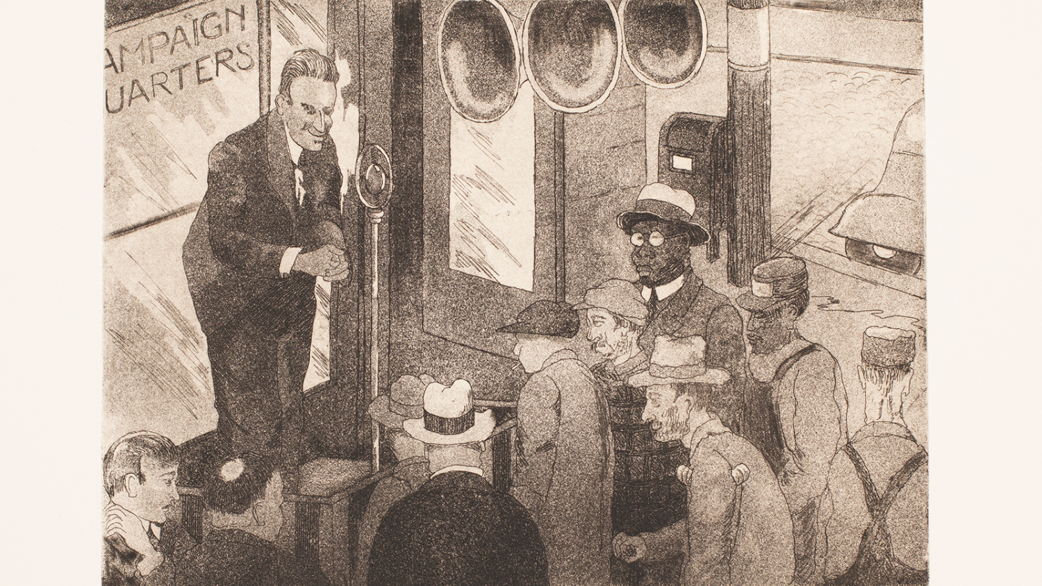 """Print of a white man speaking into a microphone in front of a window that says """"Campaign Headquarters."""" The audience is men of varying ages, races, and (by their clothing) social class. Some are listening. Some do not seem to be."""