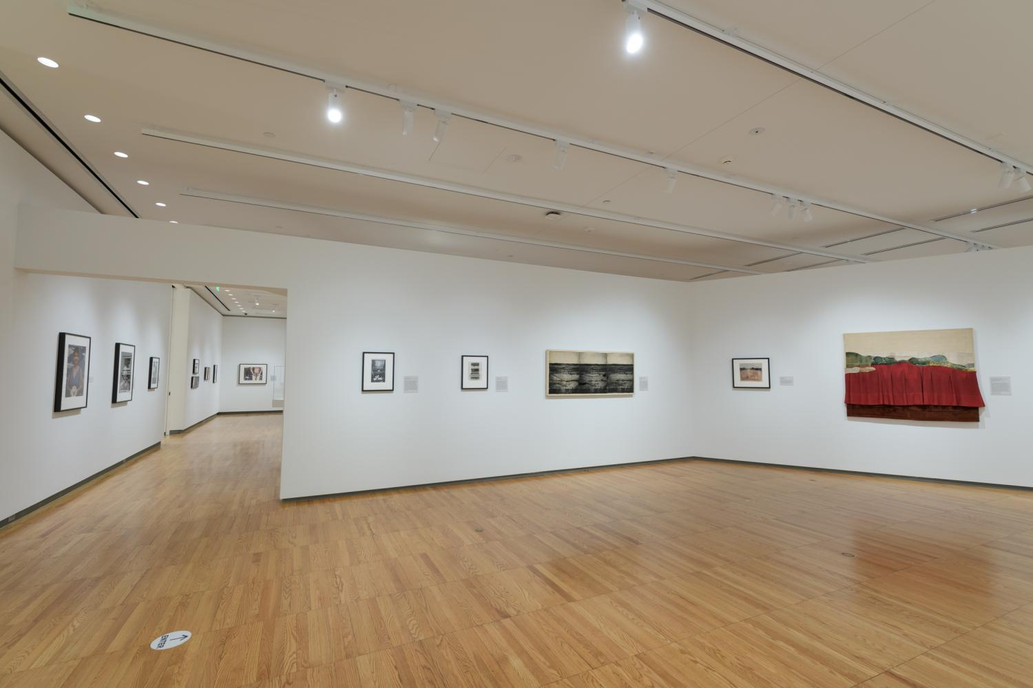 Image of art installed in a gallery, with emphasis on the new LED lights at the ceiling. The artwork is by Bea Nettles, and the gallery is KAM's recently renovated East Gallery