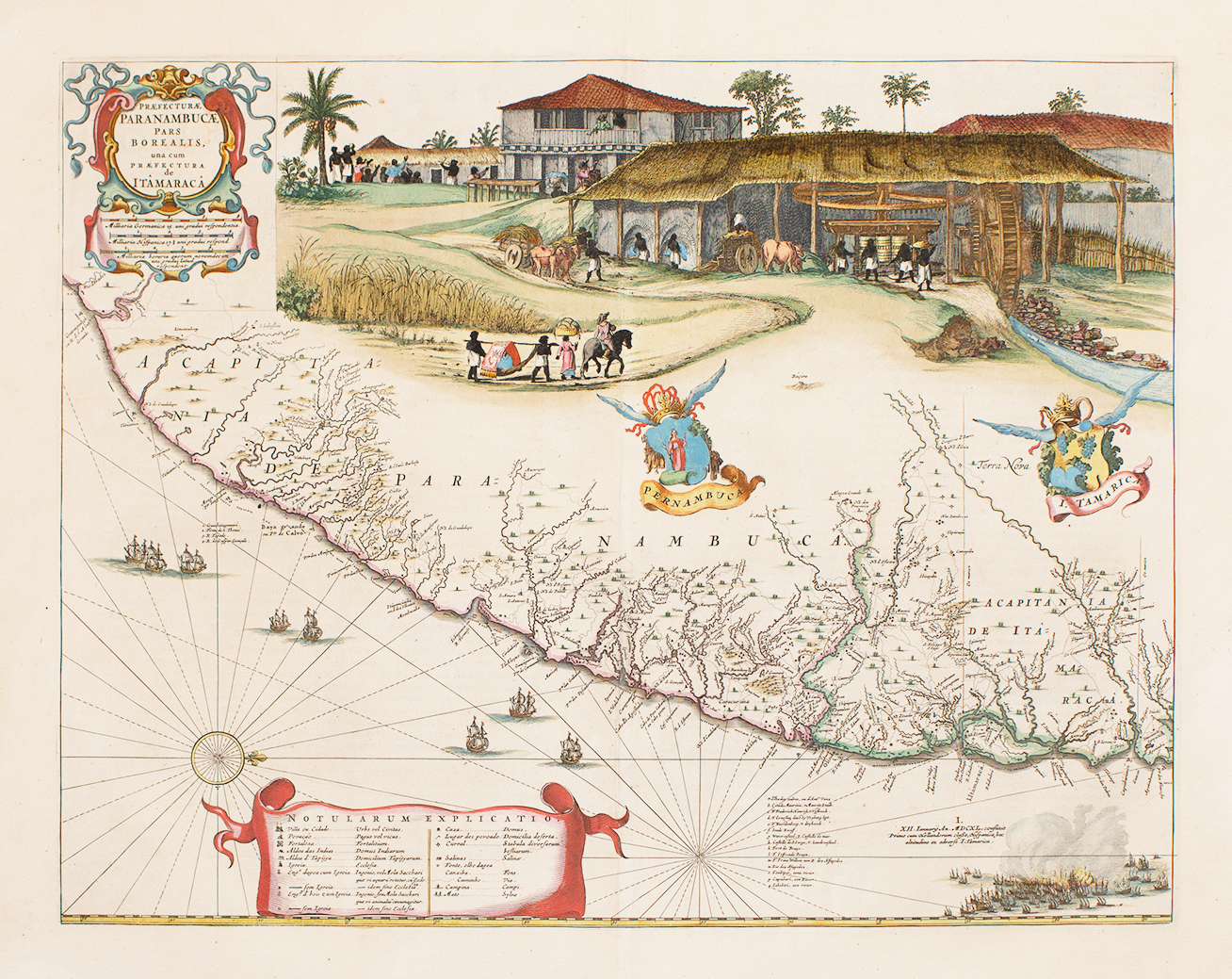 Image of a map that features a Dutch colony with enslaved people working on a highly automated (mechanical) sugar plantation. The land, its products, and people were considered Dutch property.