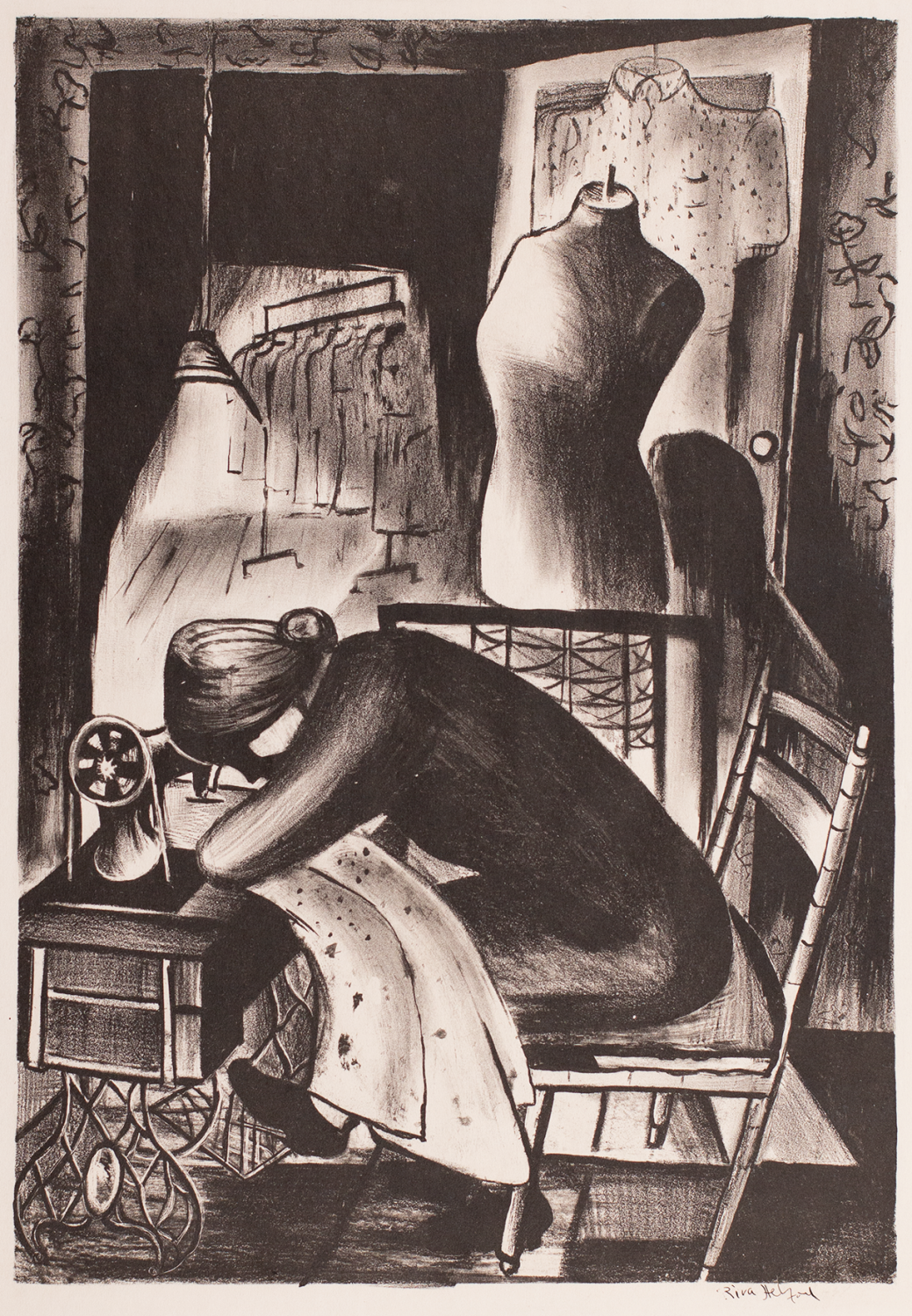 Black and white print of a woman whose face is in shadow slumped over a sewing machine. Her body posture shows exhaustion.