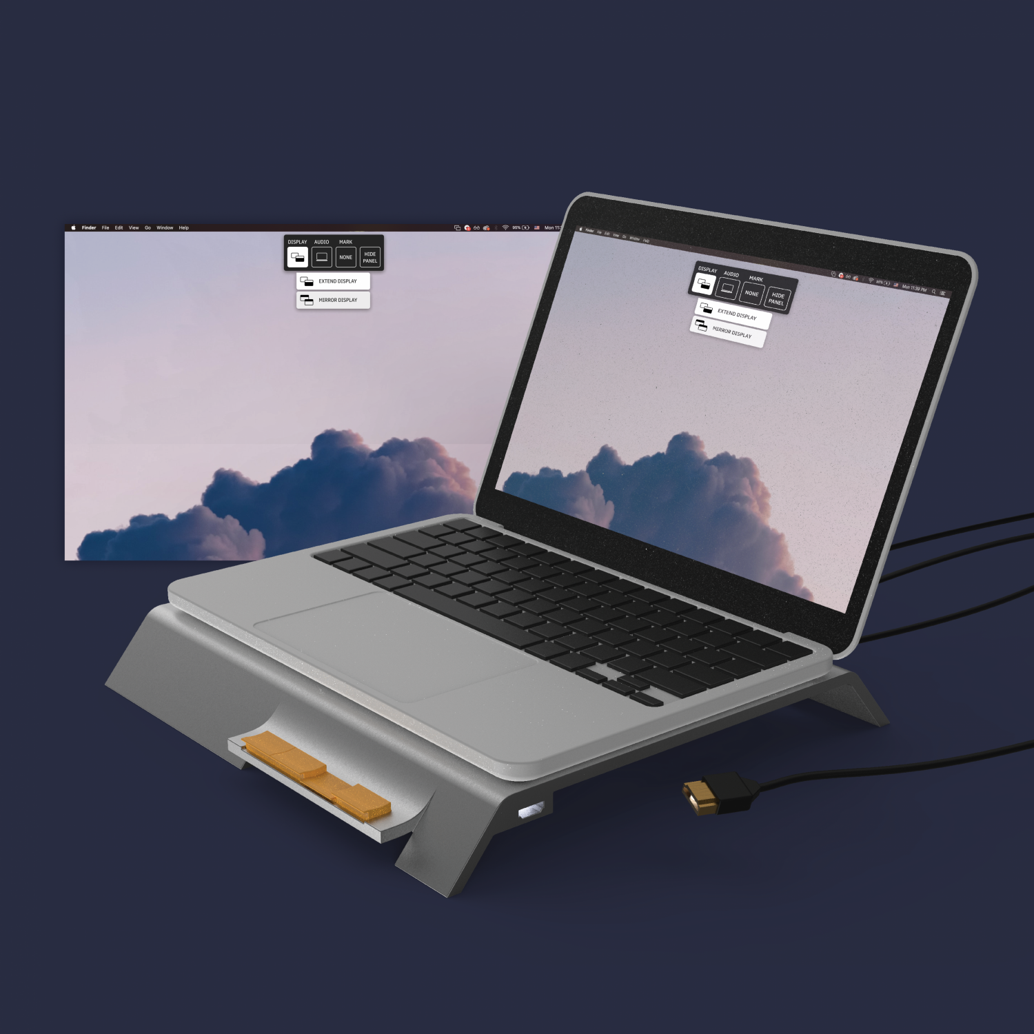 Illustration of a laptop computer sits on a raised stand with spaces for cords and images of two screens; one on the laptop itself and one possibly projected on a wall.