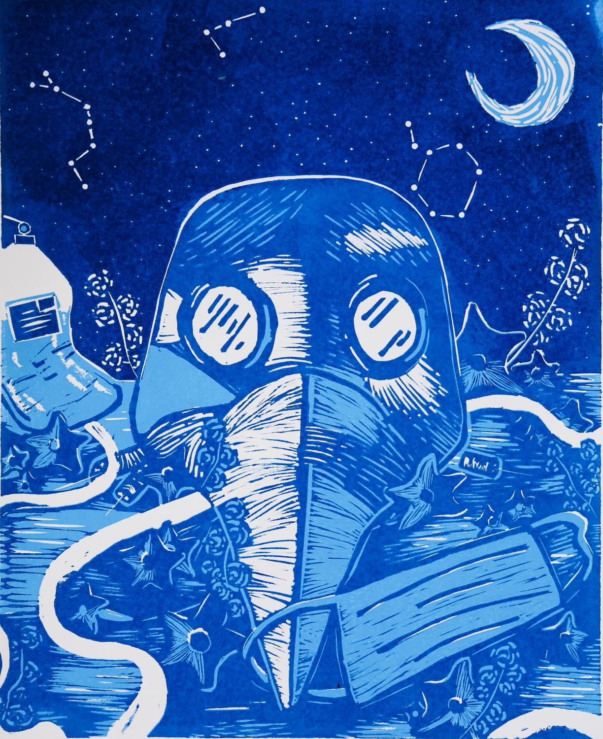 Image of a plague mask with a beaked nose and goggles with a face mask hanging from its beak. In the background are a moon and stars. The print was made using relief carving and is printed in dark and light blue ink.