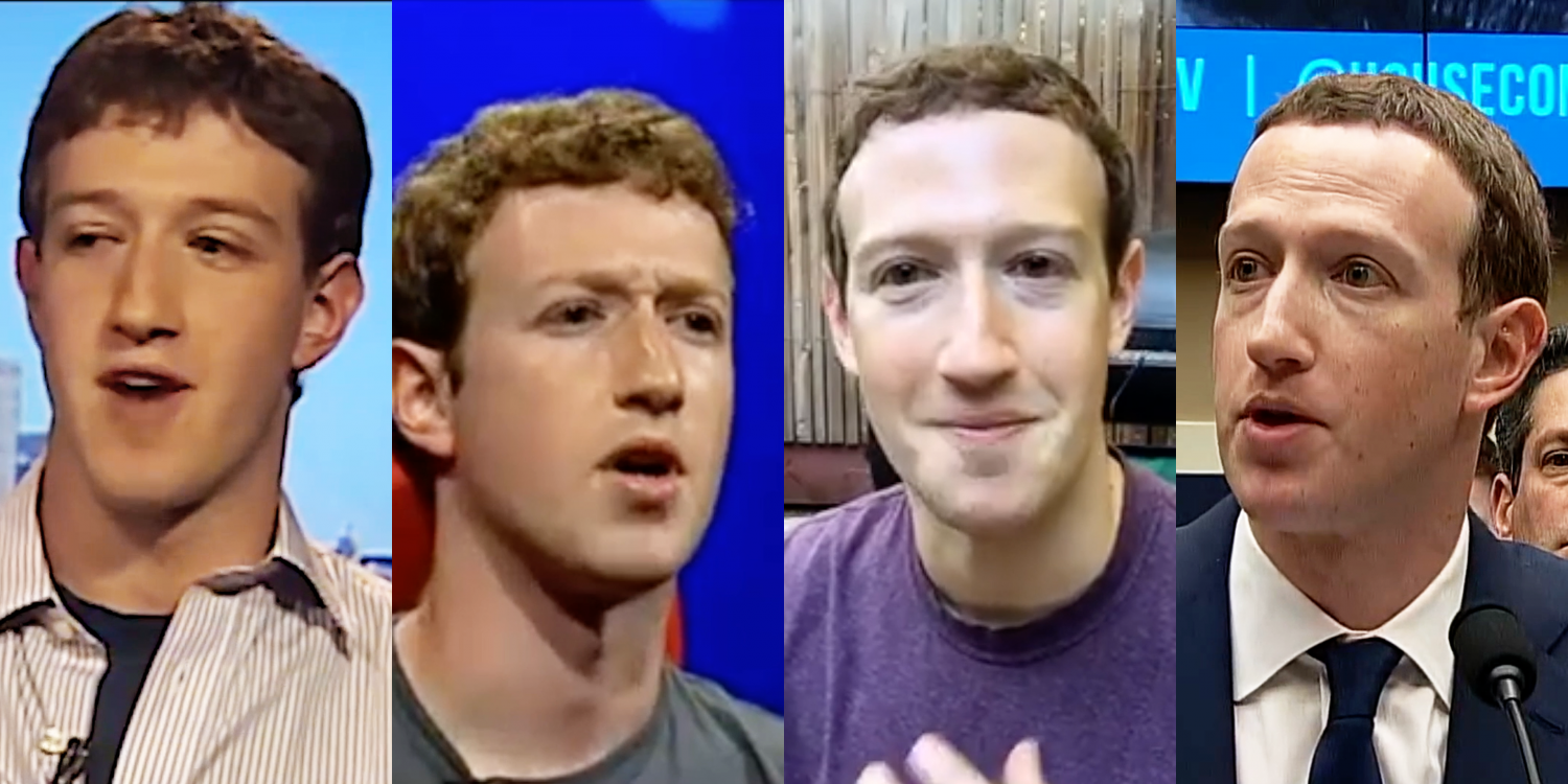 Screenshots from ORDER OF MAGNITUDE (2019), a film which draws on Mark Zuckerberg's video recorded appearances from 2004–2018. Courtesy of the artist © Ben Grosser