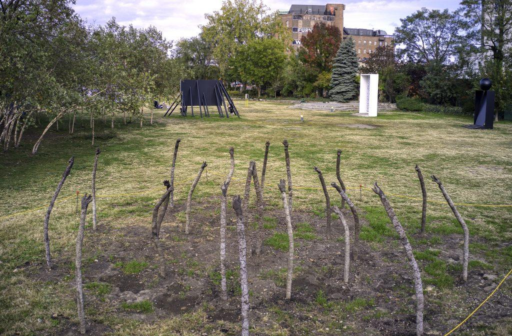 Field with sculptures standing. They resemble large sticks in the ground with hand-like tops, seemingly sculpted out of clay