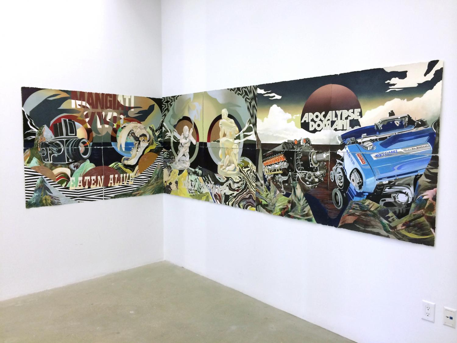 Three connected panels of art installed around the interior corner of a gallery. They combine stylized classical images with modern technology like cameras and a jeep, with a hybrid english/latin text overlay.