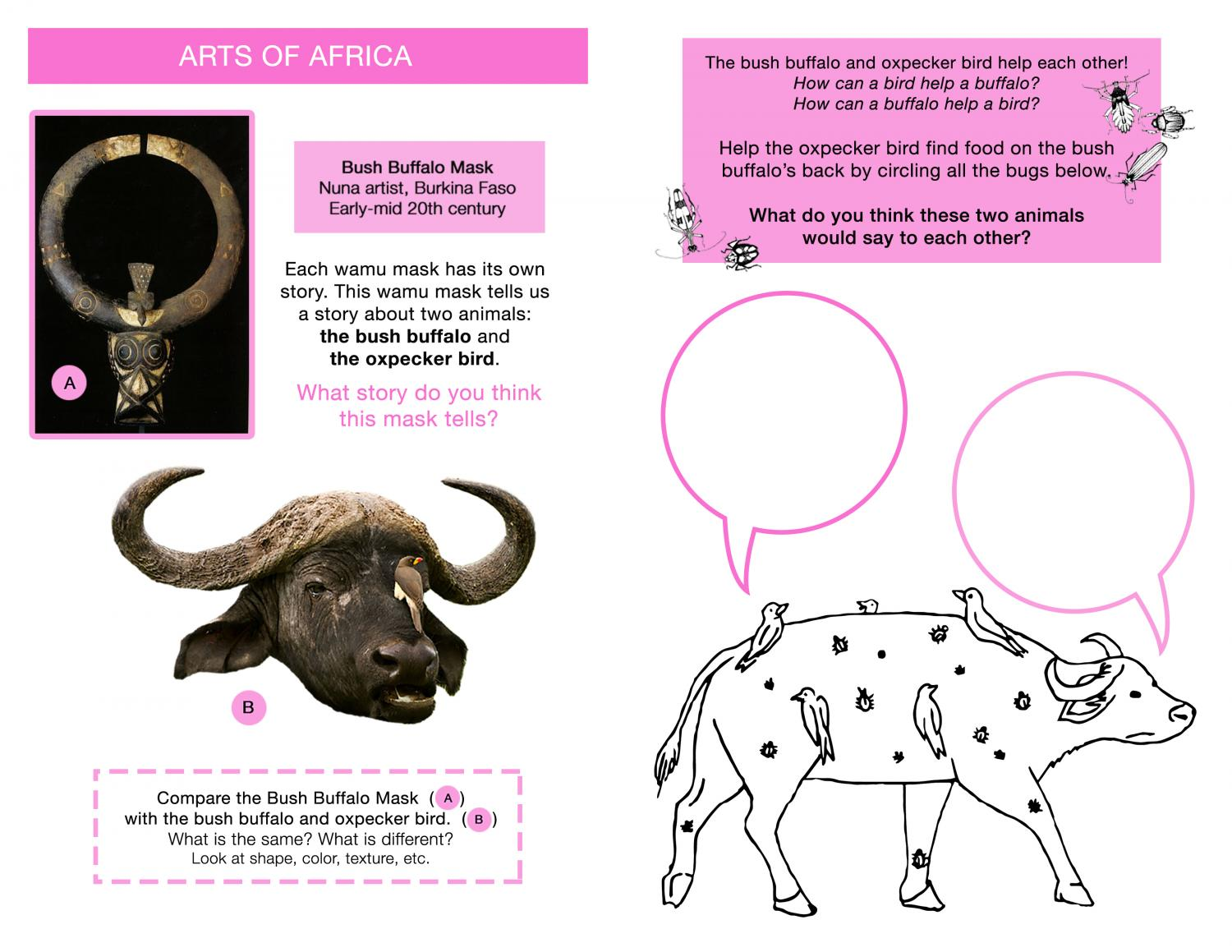 Activity for children that describes an ox mask with a bird on it from the African collection and describes the way animals help each other. Kids can imagine what the ox and bird say to one another.