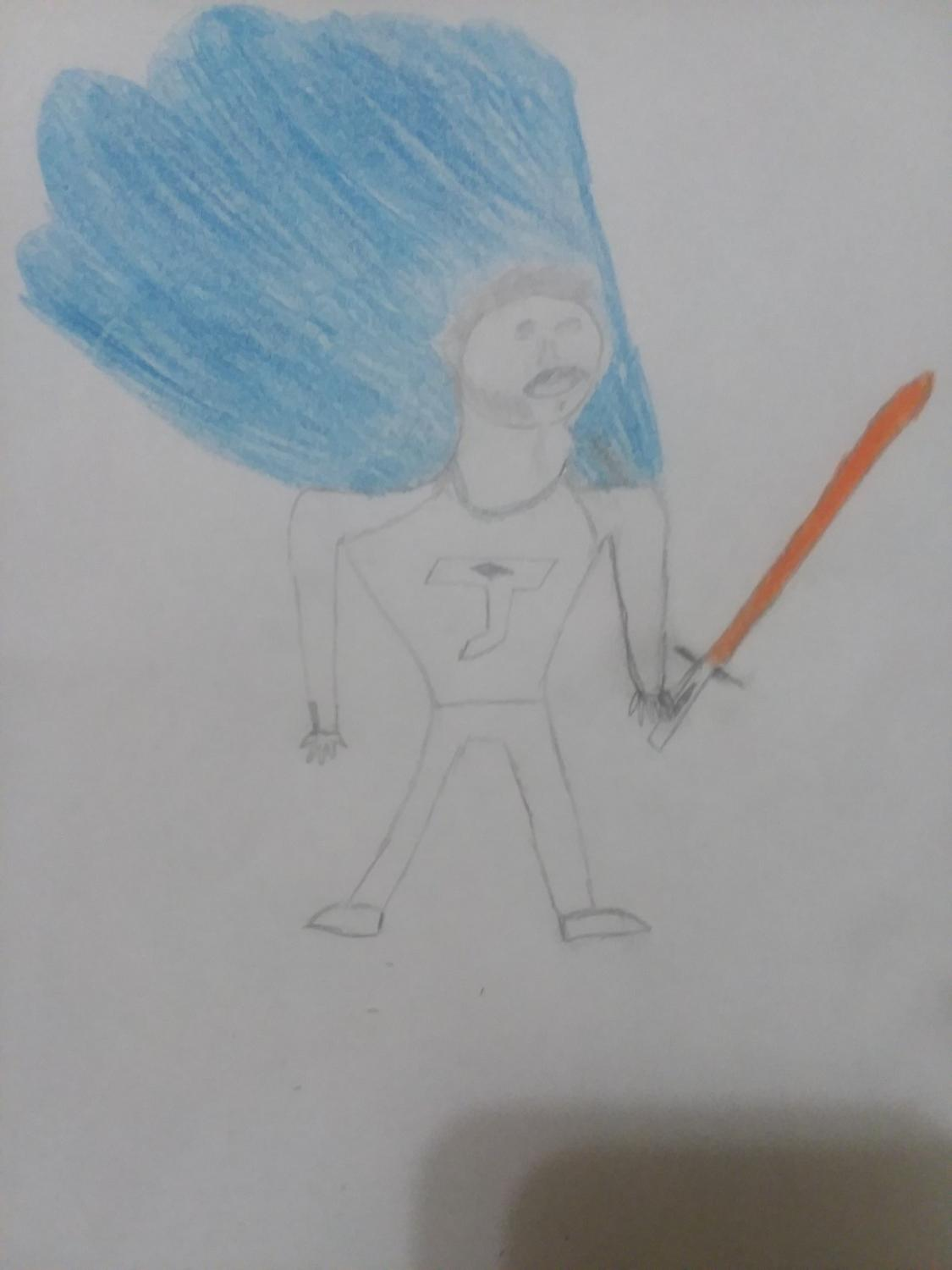 pencil drawing of a male superhero with a blue cape and red light saber sword