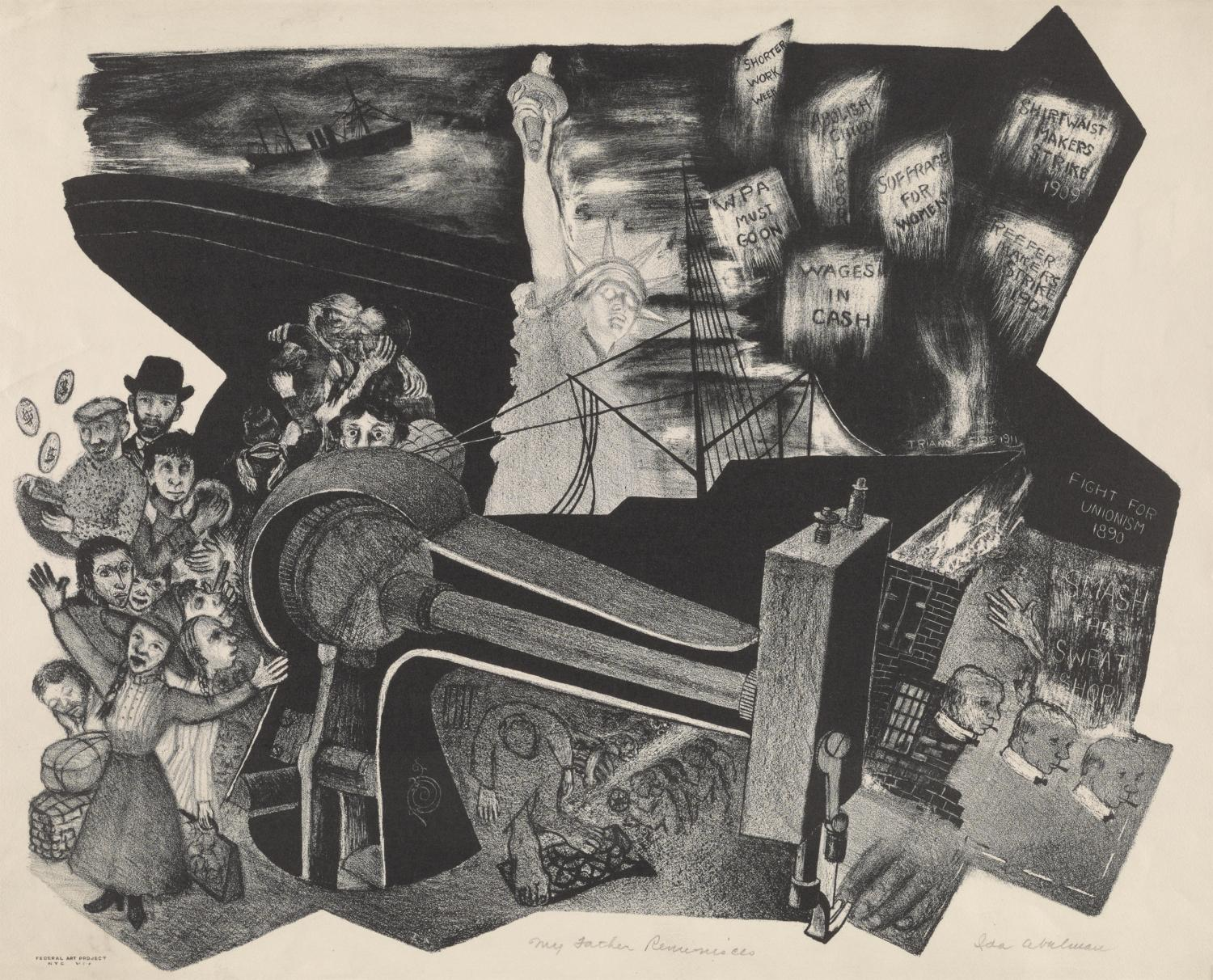 Ida Abelman, My Father Reminisces, 1937. Lithograph. Allocated by the US Government, Commissioned through the New Deal art projects, 1943-4-1.