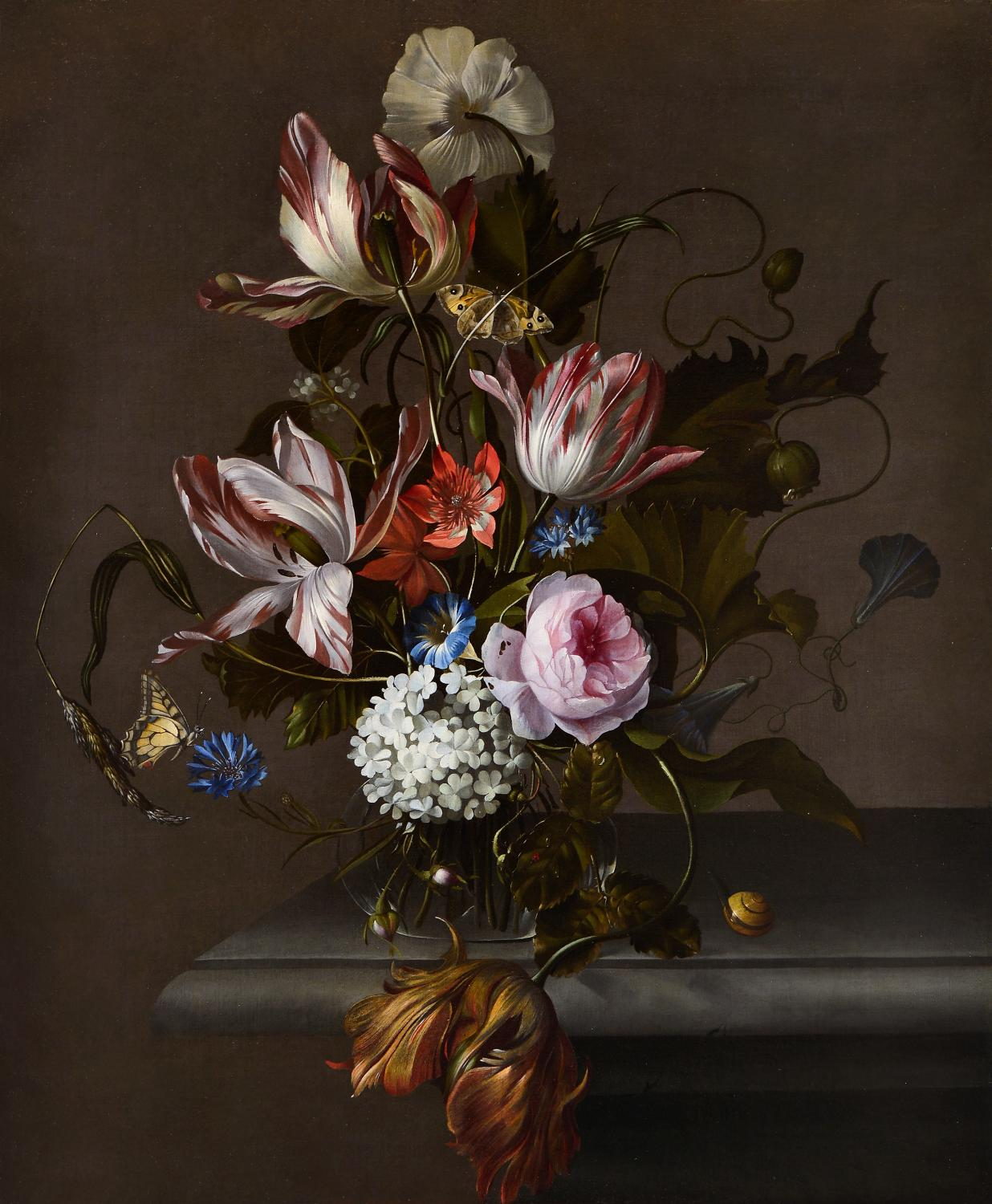 Anna Ruysch, Still Life of Flowers in a Glass Vase on a Stone Table Ledge (detail), ca. 1690s. Oil on canvas. Museum Purchase through the John Needles Chester Fund and the Richard M. and Rosann Gelvin Noel Krannert Art Museum Fund.