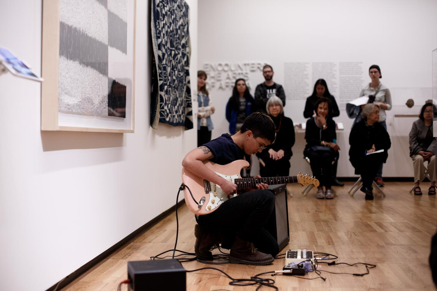 Olguie Freyre-Homar performing at Art Remastered at Krannert Art Museum, 2017. Photo by Veronica Mullen.