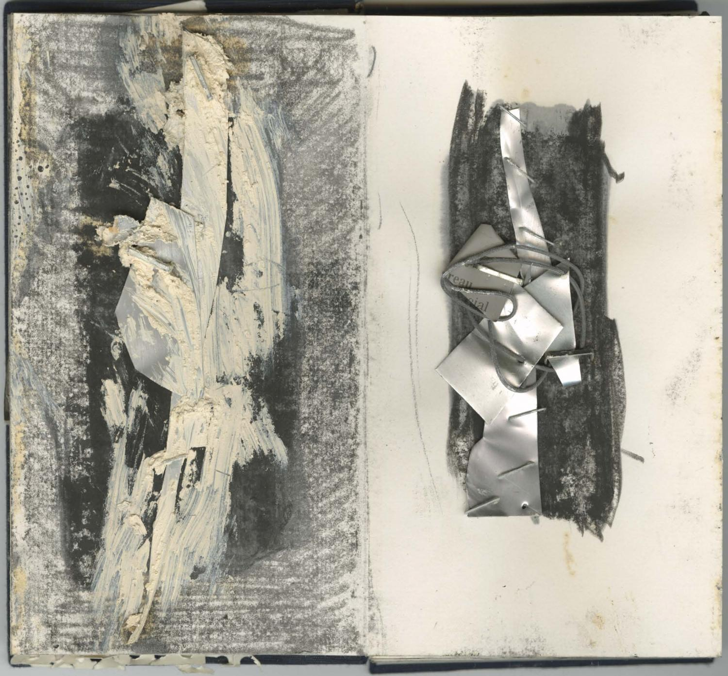 Two pages of an artist book by abstract artist Louise Fishman. On the left side, a grey textured rectangle with dark charcoal at center; vertically overlaid with white paint/collage. On right, a similar composition made of bent aluminum and wire on paper.