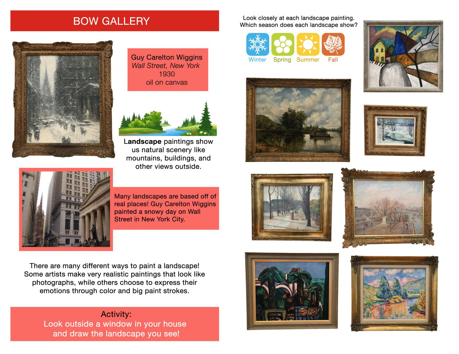Printable art activity. On the left is a painting of Wall Street in New York in Winter, and below it is a photograph of the city, inspiring kids to think about the way paintings show the world.On the left is a grid of paintings asking what season is this?