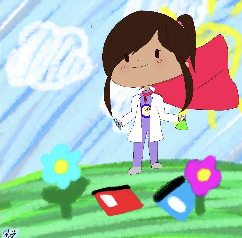 digital illustration of a female superhero with dark hair and a ponytail. She is holding a flask and test tube and wearing a lab coat. Books are scattered on the grass at her feet.