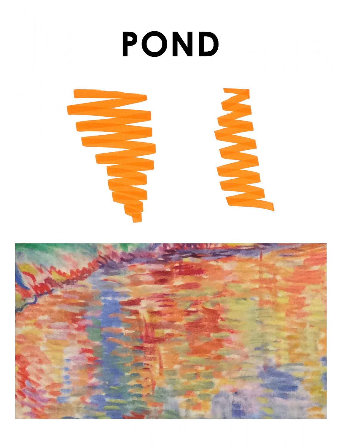 """Brightly colored landscape is on the bottom half of this image. The top says """"Pond"""" and depicts orange horizontal lines drawn back and forth as they move down the page without lifting the marker."""