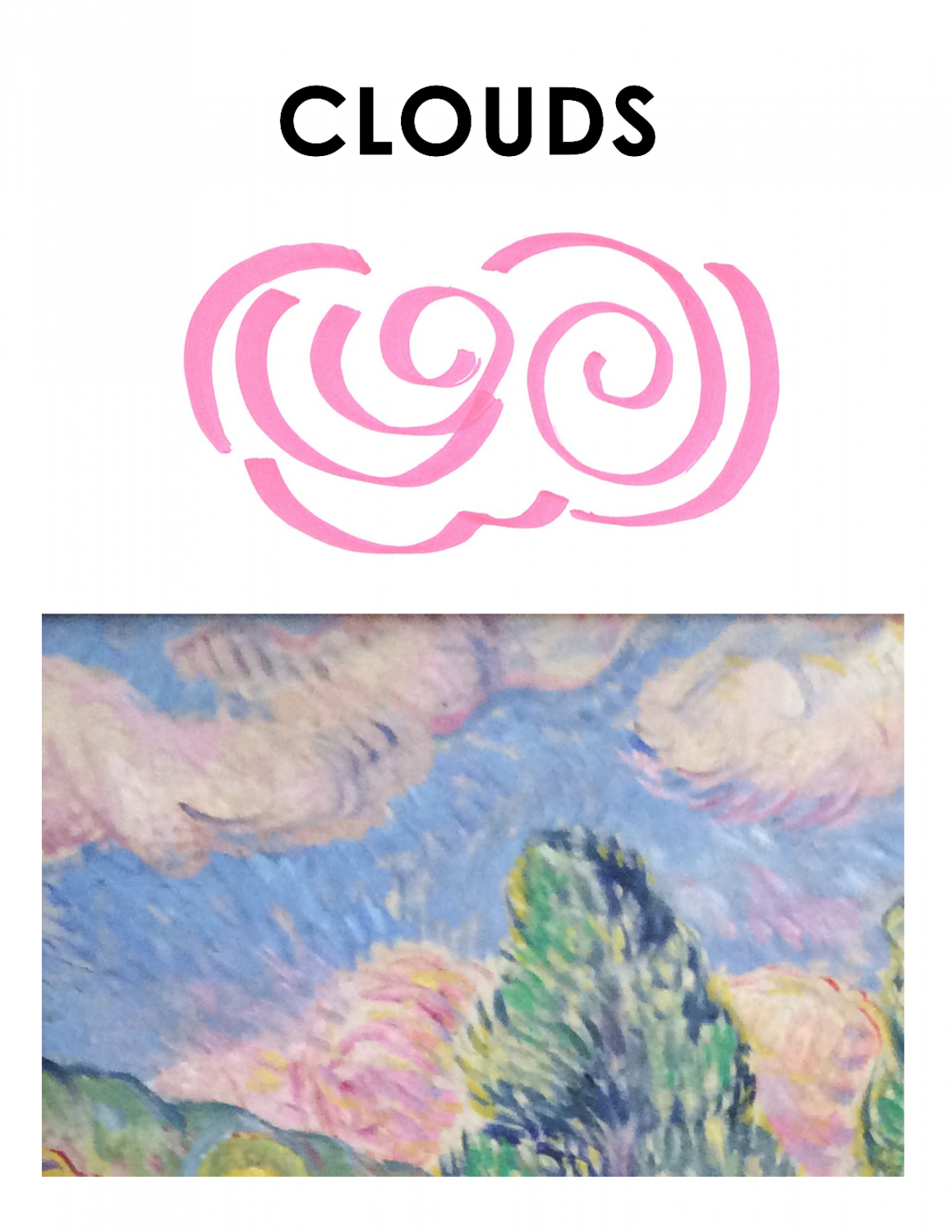 """Brightly colored landscape is on the bottom of this image. The top says """"Clouds"""" and depicts pink curly lines that make up a cloud-like shape."""