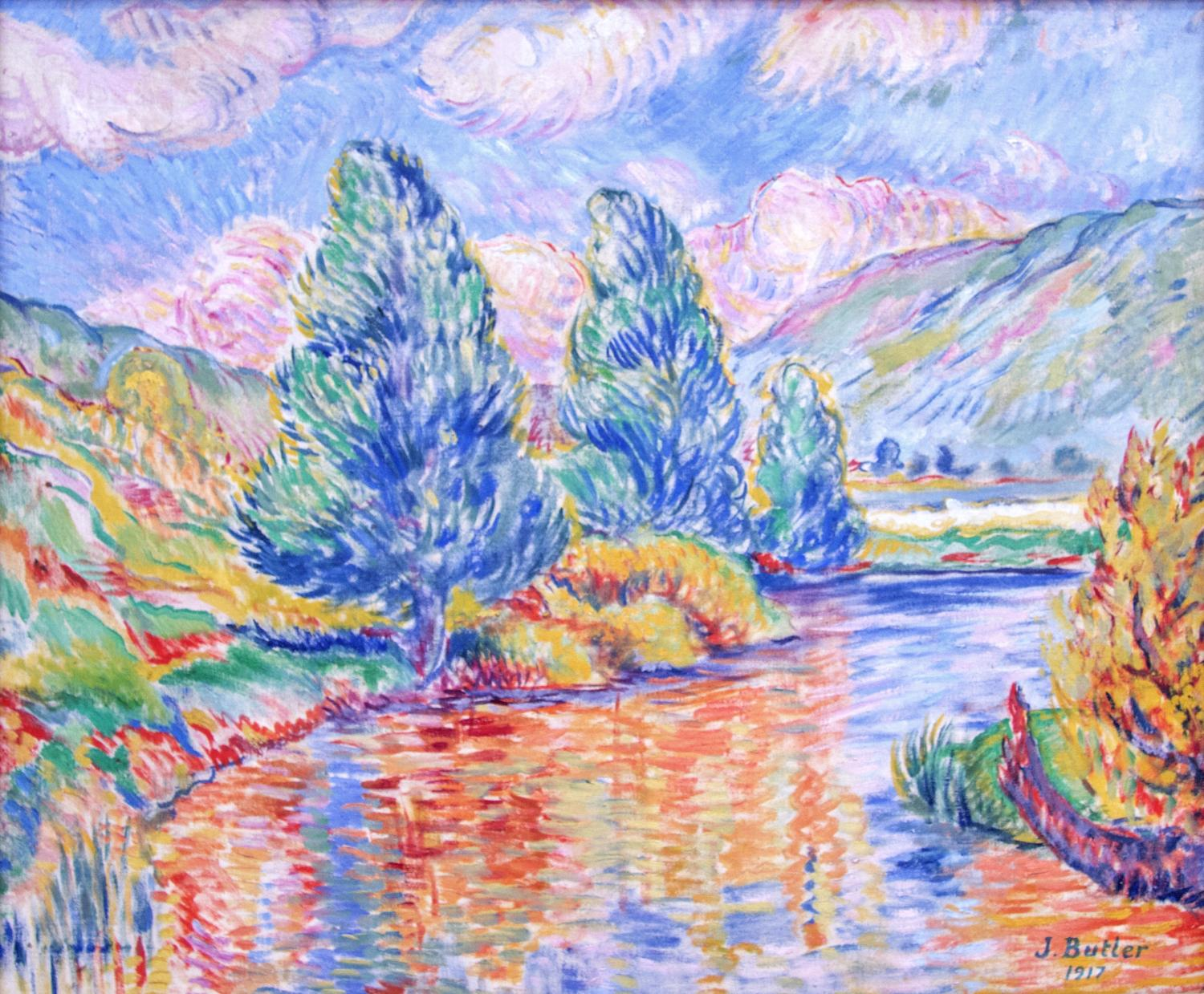 Colorful painting of a lake and trees. It is created with dashes and dabs of paint in a style that gives the impression of the way light and shadow and reflections work with one another.