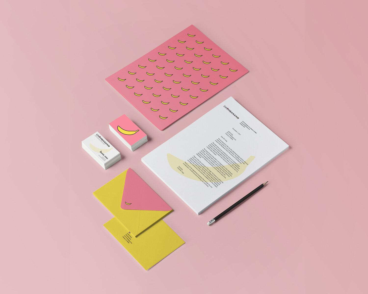 Pink background with business cards and stationery. The project is a brand concept for a fictional ice cream shop with innovative typography that incorporates ice cream images in the letters.