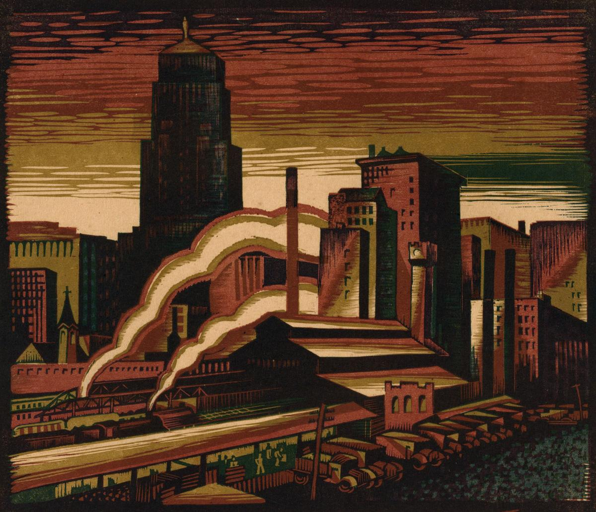 Charles Turzak South of the Loop, ca. 1934 Woodcut Allocated by the  U.S. Government commissioned through the New Deal art projects 1934-2-46 © Charles Turzak