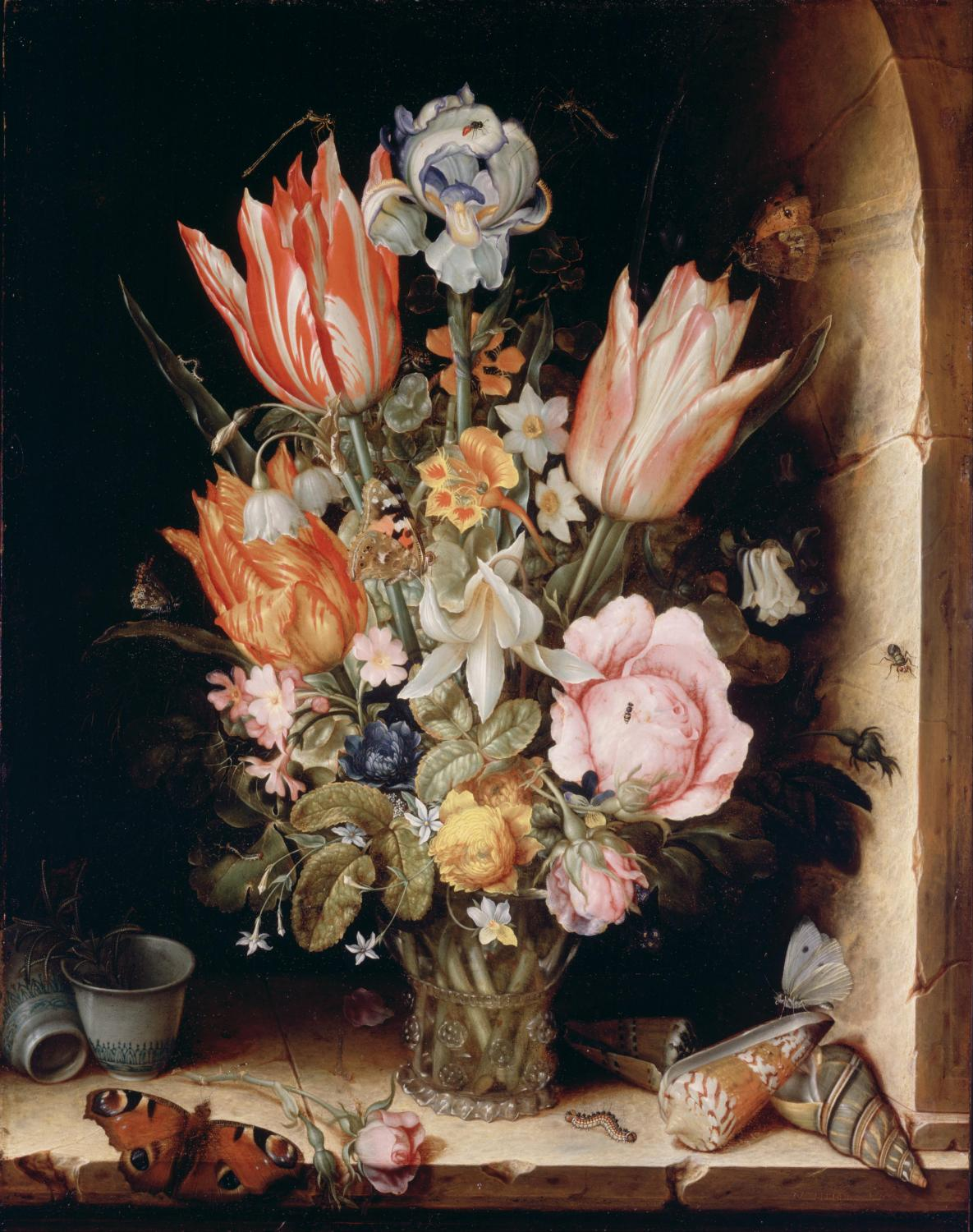Christoffel van den Berghe, Still Life with Flowers in a Vase, Philadelphia Museum of Art, 1617. Image and artwork in public domain.