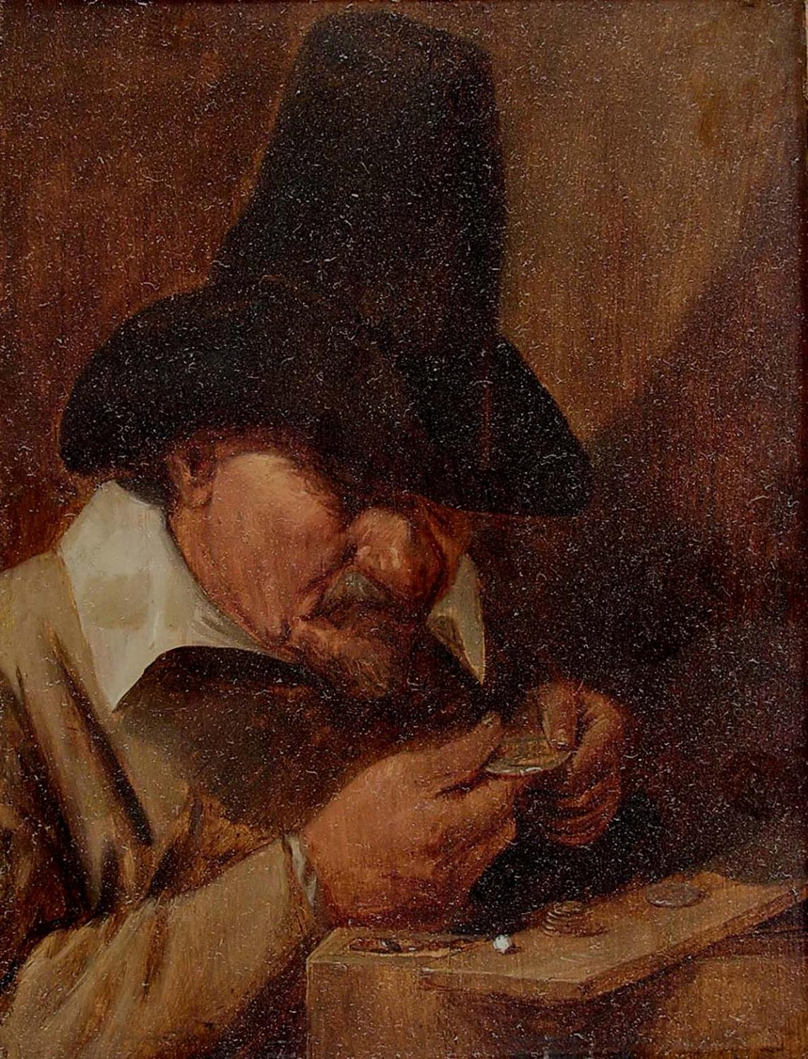 Image of a painting by Joos van Craesbeeck, The Coin Collector, 17th century. (before conservation)