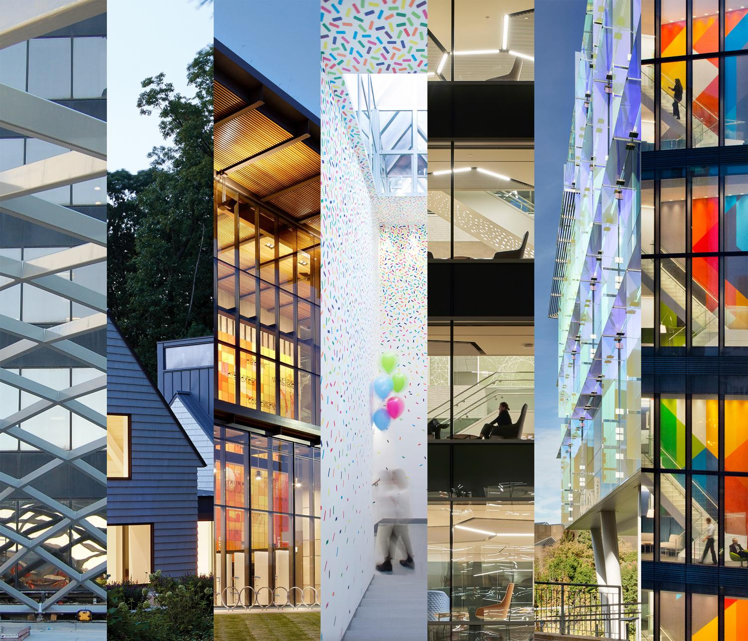 Collage of architectural renderings by women architectural graduates from the University of Illinois