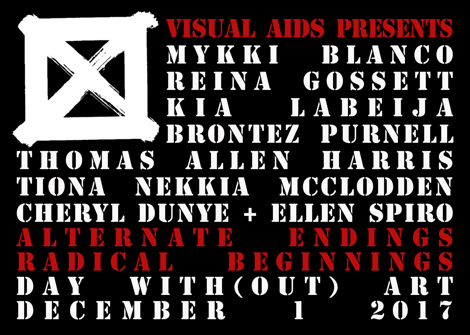 ALTERNATE ENDINGS, RADICAL BEGINNINGS logo for Visual AIDS' 28th Annual Day With(out) Art