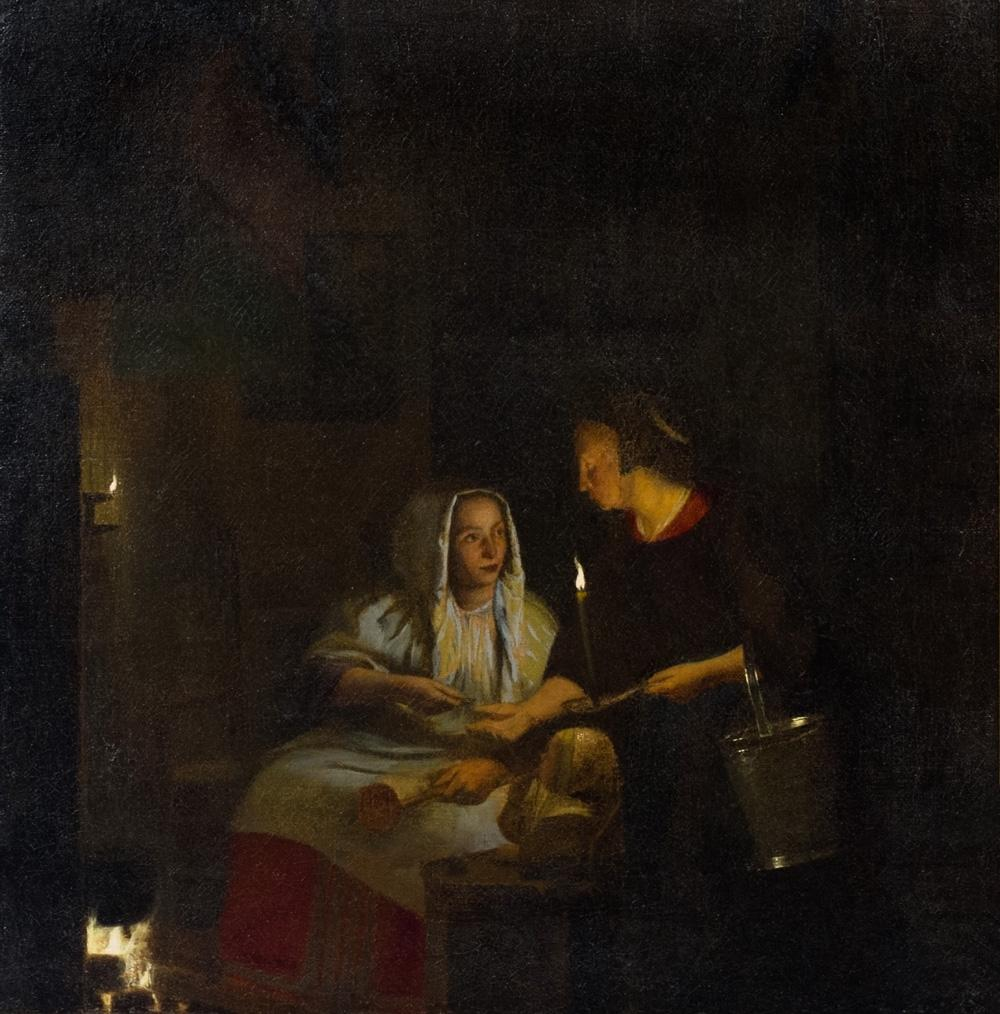 Peter de Hooch, A Woman Feeding Her Child and Paying a Servant, ca. 1675–1680. 1942-1-2.