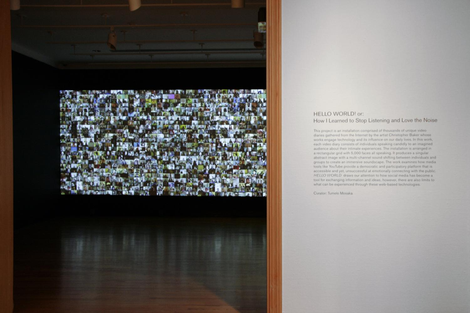 Christopher Baker, Hello World! or, How I Learned to Stop Listening and Love the Noise, installation at Krannert Art Museum, 2013.