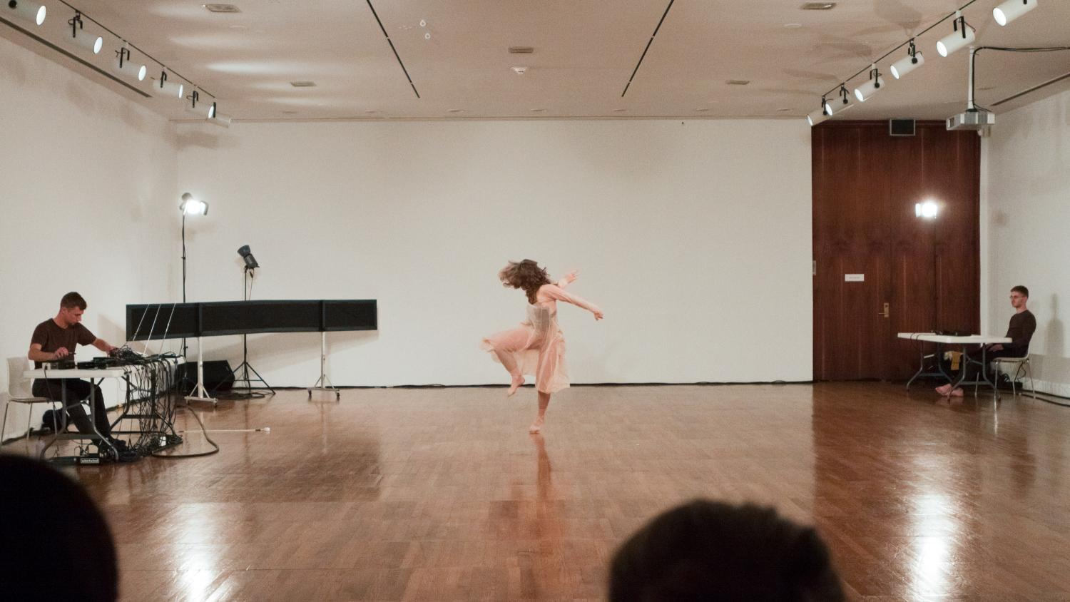 "Jennifer Monson in ""Live Dancing Archive,"" performed at Krannert Art Museum as part of the exhibition Openstudio 2, 2013. Photo by Natalie Fiol"