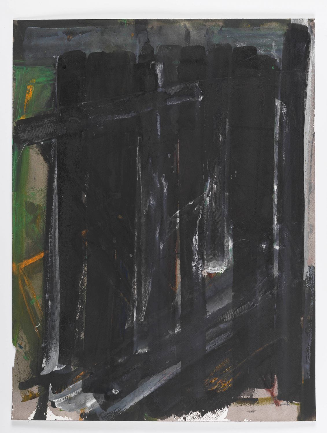 """Densely painted, """"Untitled"""" by Louise Fishman pairs vibrant color (green field and orange drawn lines) with a black grid with streaks of white. Tempera, watercolor, and ink are all used."""