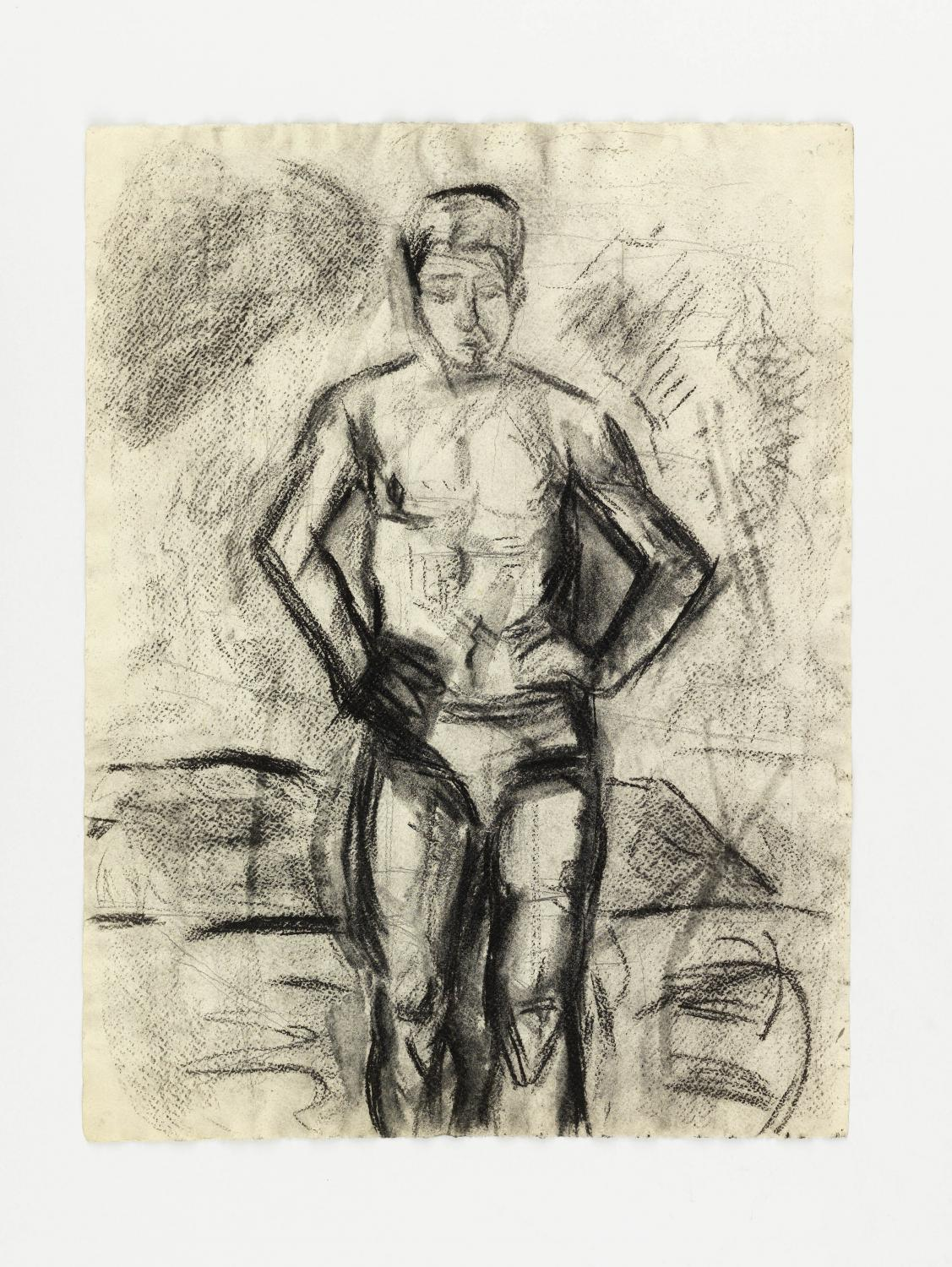 Charcoal drawing of a man in underwear, looking down, facing the viewer, on cream-colored paper. Outline of centered, standing figure is densely black; shaded areas show paper texture.