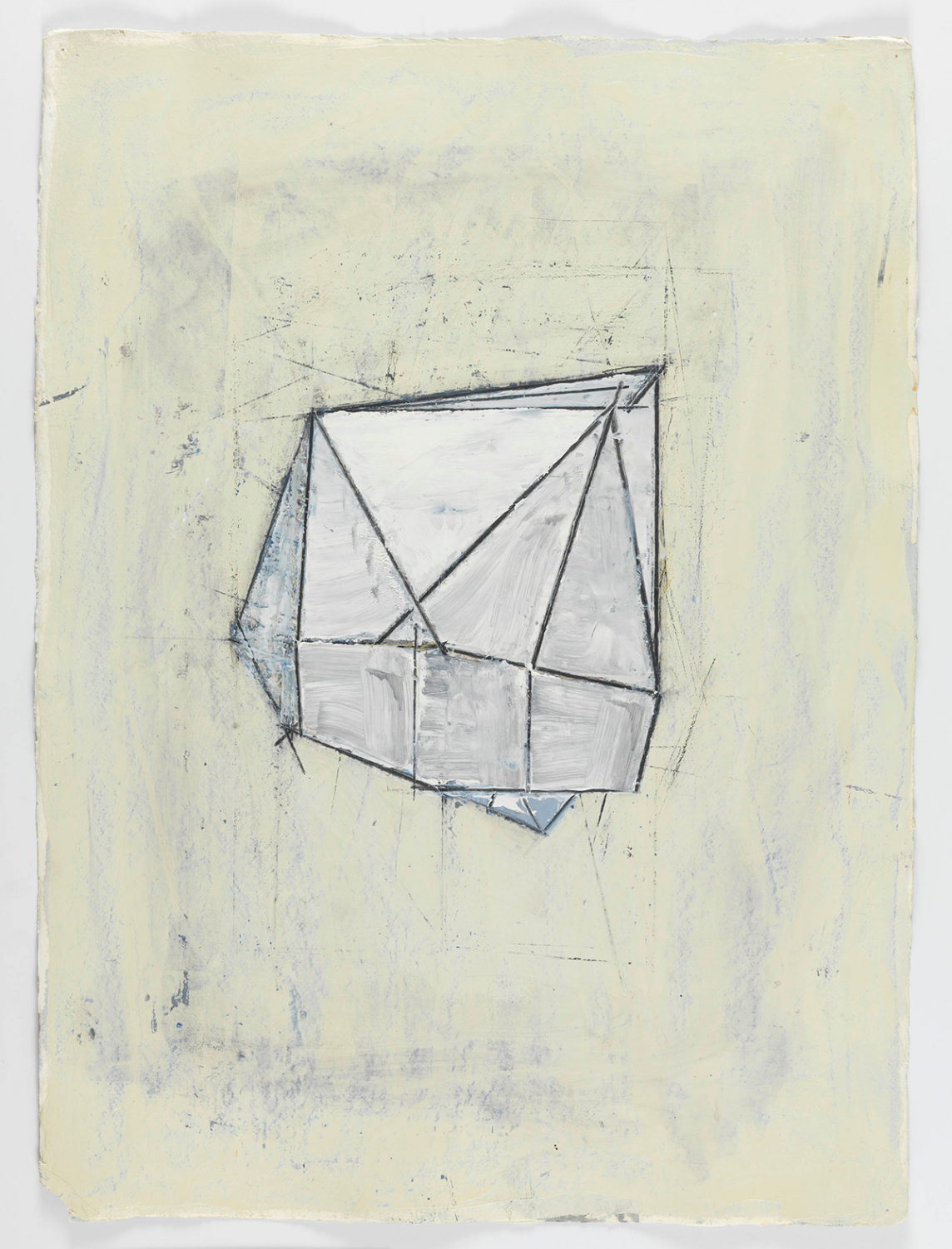Oil and wax drawing of an irregular prism in whites and greys to show the dimensionality of the shape. It seems to come forward from the paper in 3 dimensions. By abstract artist Louise Fishman