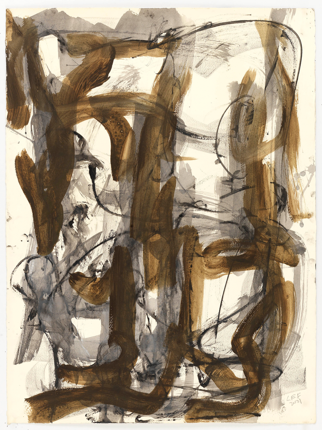 Charcoal and brown watercolor painting that follows the grid, but softly with organic curves. The painting is a full 30 inches tall, so one gets a sense for the physical movement of the arm and hand of the artist in making it. By Louise Fishman