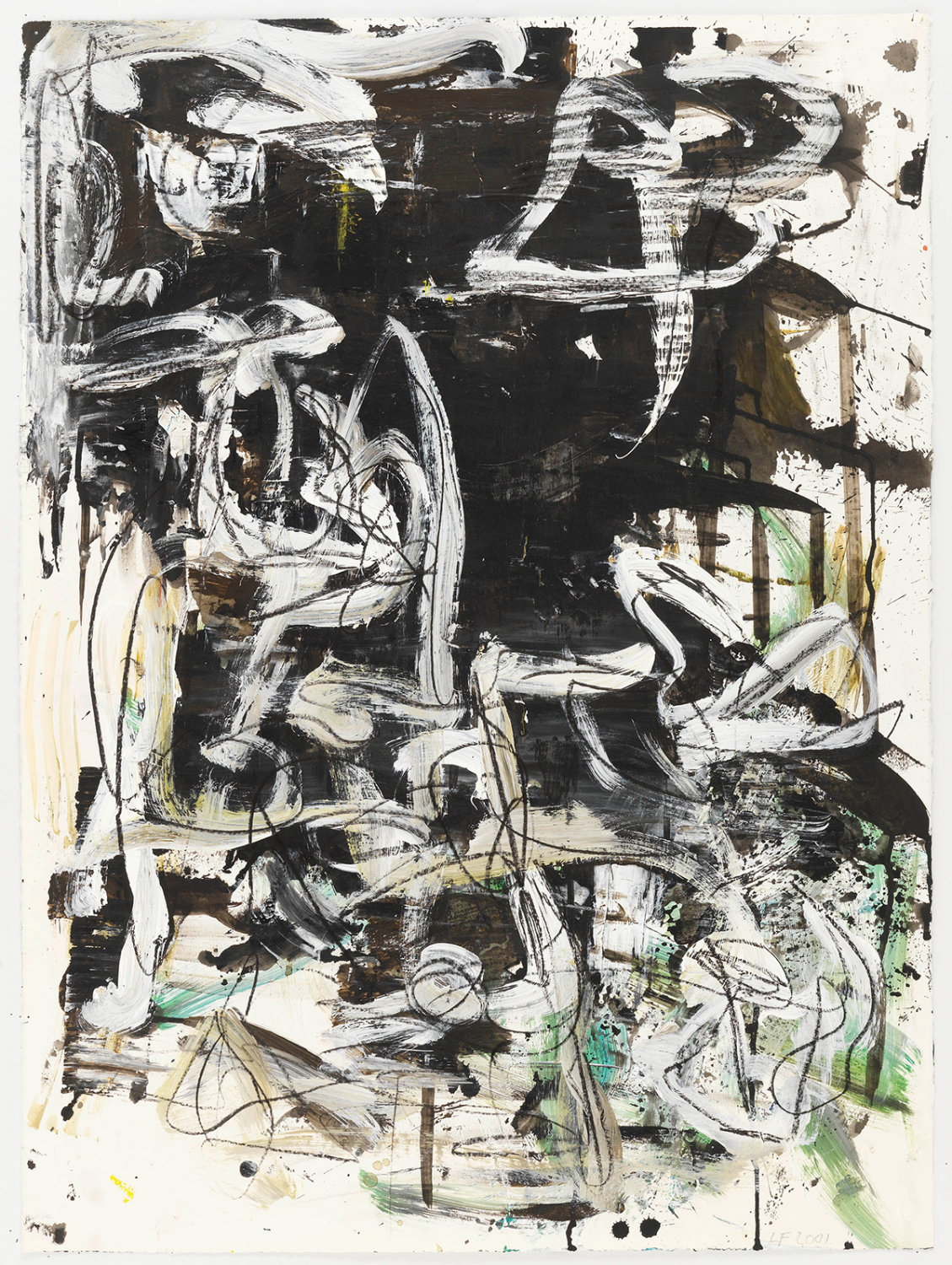 Charcoal drawing with paint. Black paint has been applied toward the top, then removed to reveal curved lines beneath. Toward the bottom are speckles of bright colors that give the painting a lightness and vibrancy beneath the darker field above.