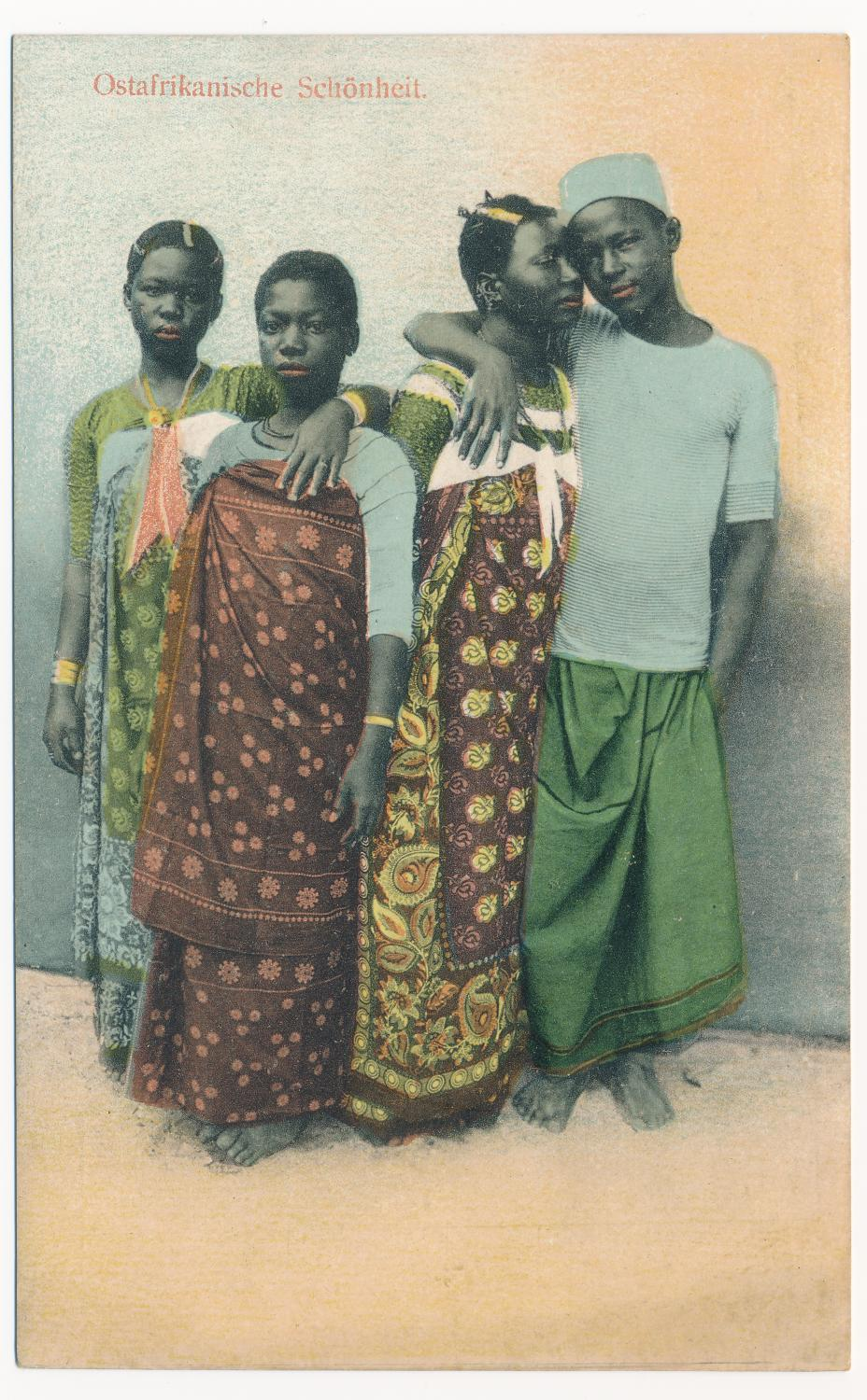 J.P. Fernandes, photographer. Ostafrikanische Schönheit (present-day Tanzania), Photograph before 1900; postcard printed ca. 1912. Colored collotype on postcard stock. Collection of Christraud M. Geary.