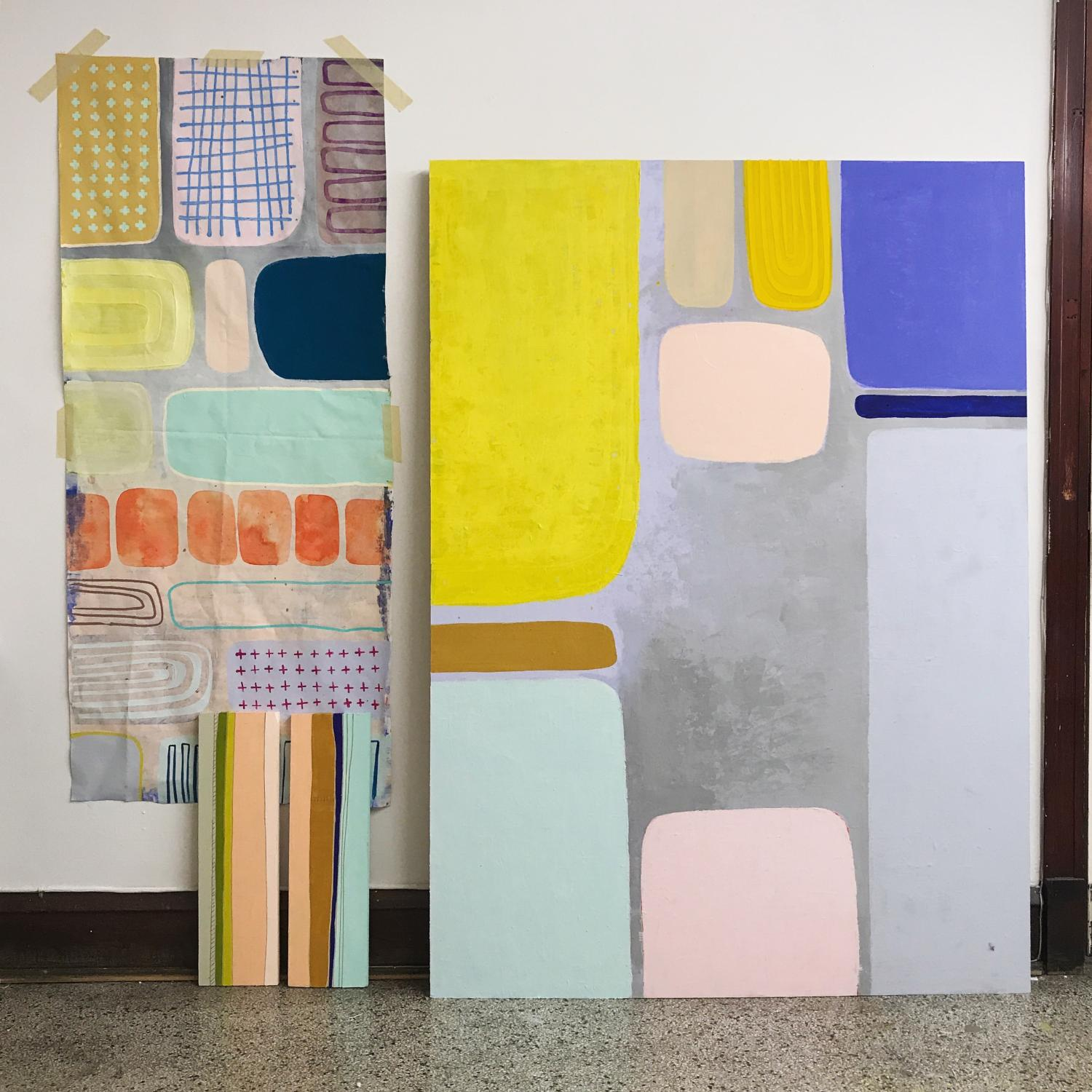 A selection of paintings by local artist Kelly Hieronymus, who will lead this month's creativity workshop on Patterns and Forms. Image courtesy of the artist.