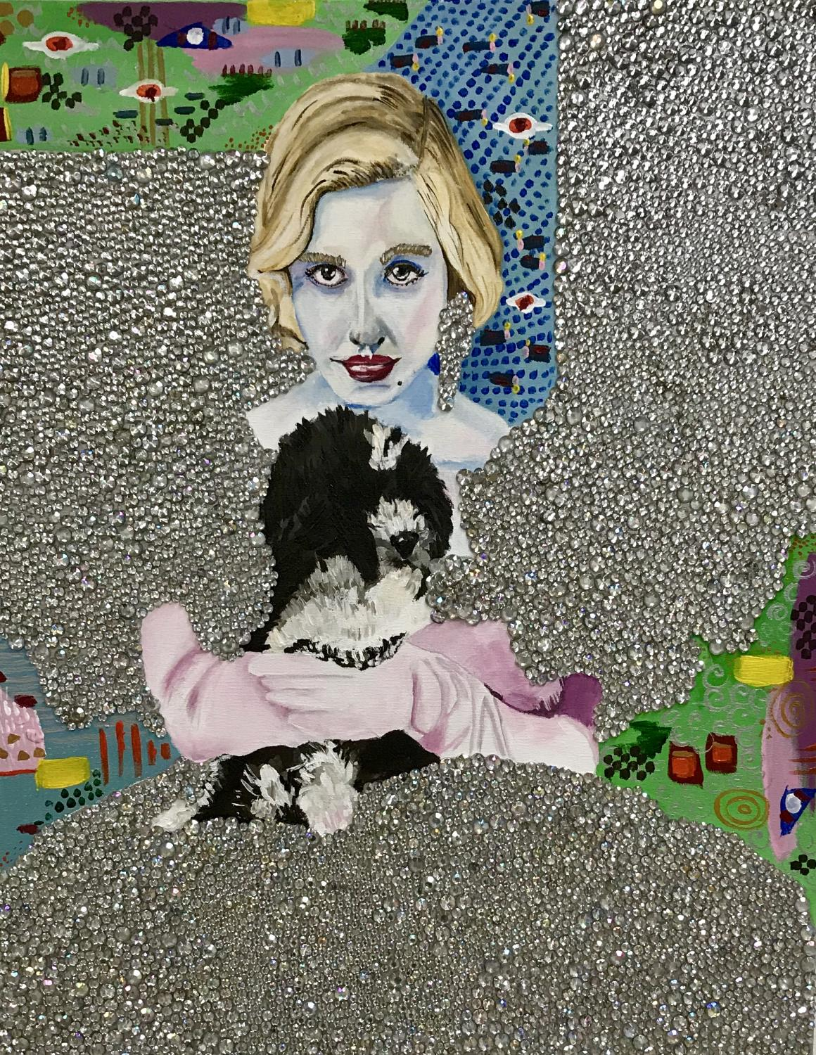 Portrait of a woman's face and small dog, arranged vertically like a totem pole. The field surrounding the figures is embellished with gray-silver assorted materials. The resulting effect is to make the painted portions seem ungrounded, like they float.