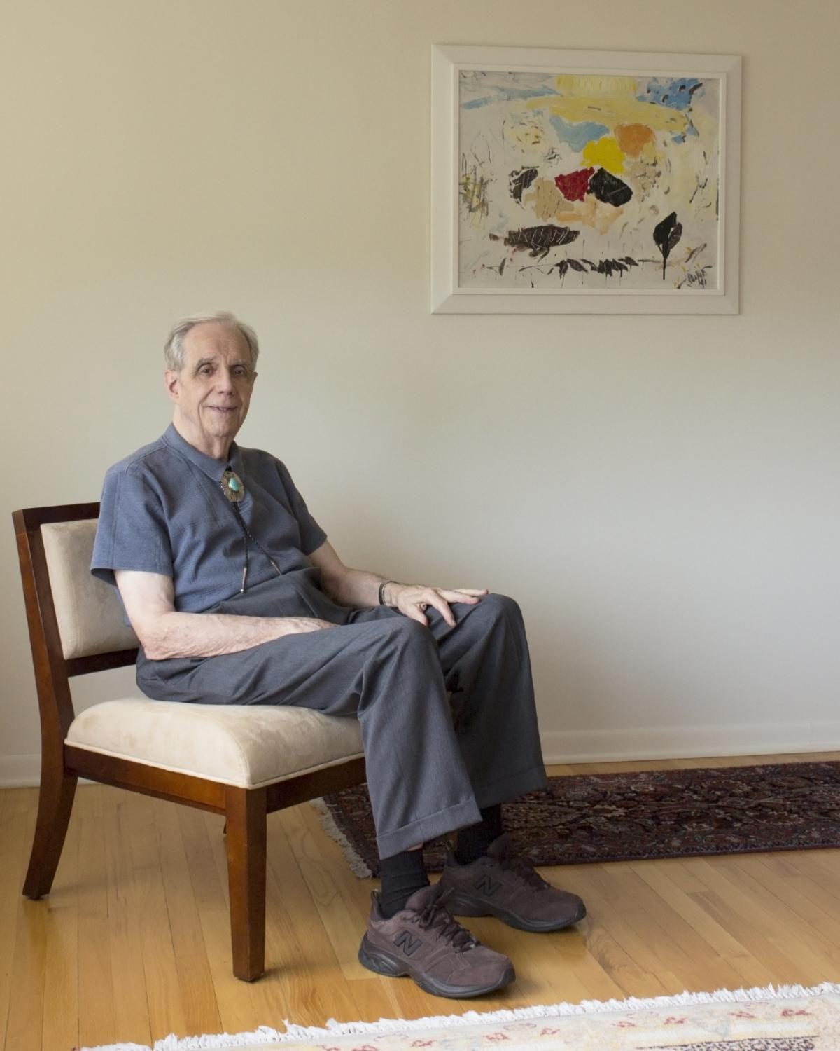 Krannert Art Museum donor and art collector Iver M. Nelson, Jr. at home, 2018.