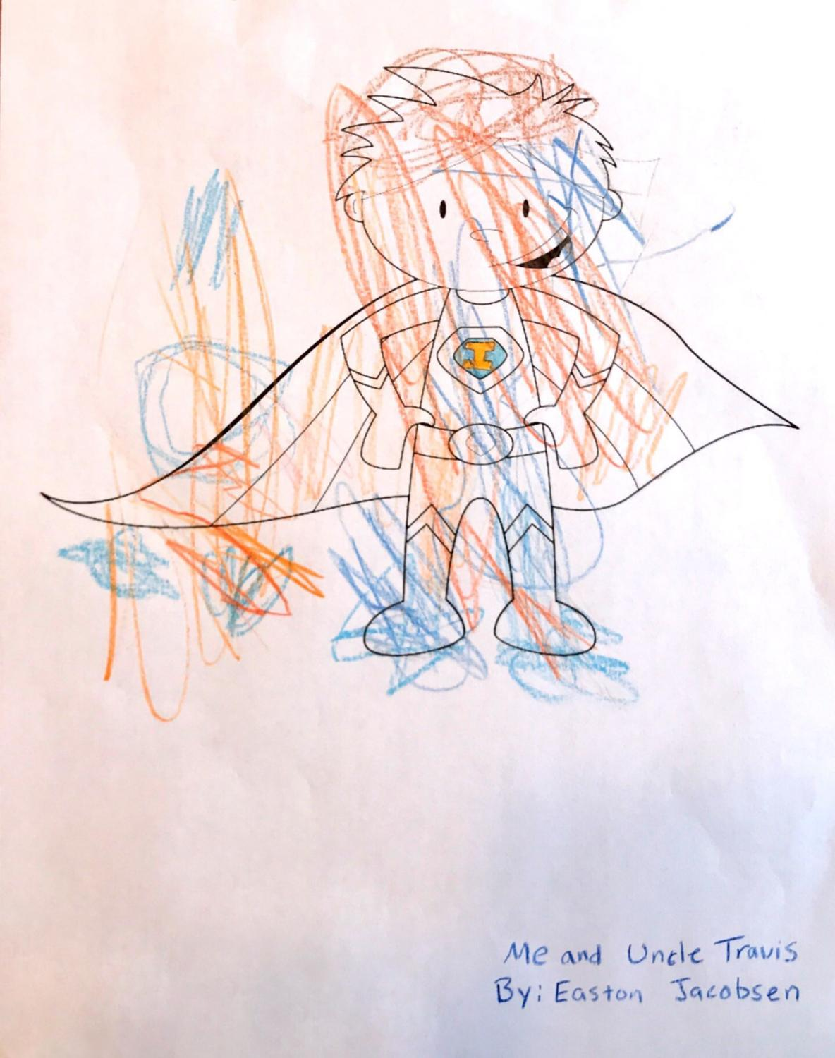 Image of a superhero coloring page colored in colorfully by a 2 year old.