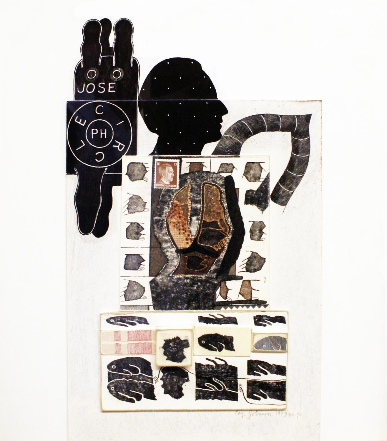 Ray Johnson, Untitled  (Joseph Circle), 1979–80–90. Collage on cardboard panel. Courtesy Richard L. Feigen & Co., New York. © Ray Johnson Estate.